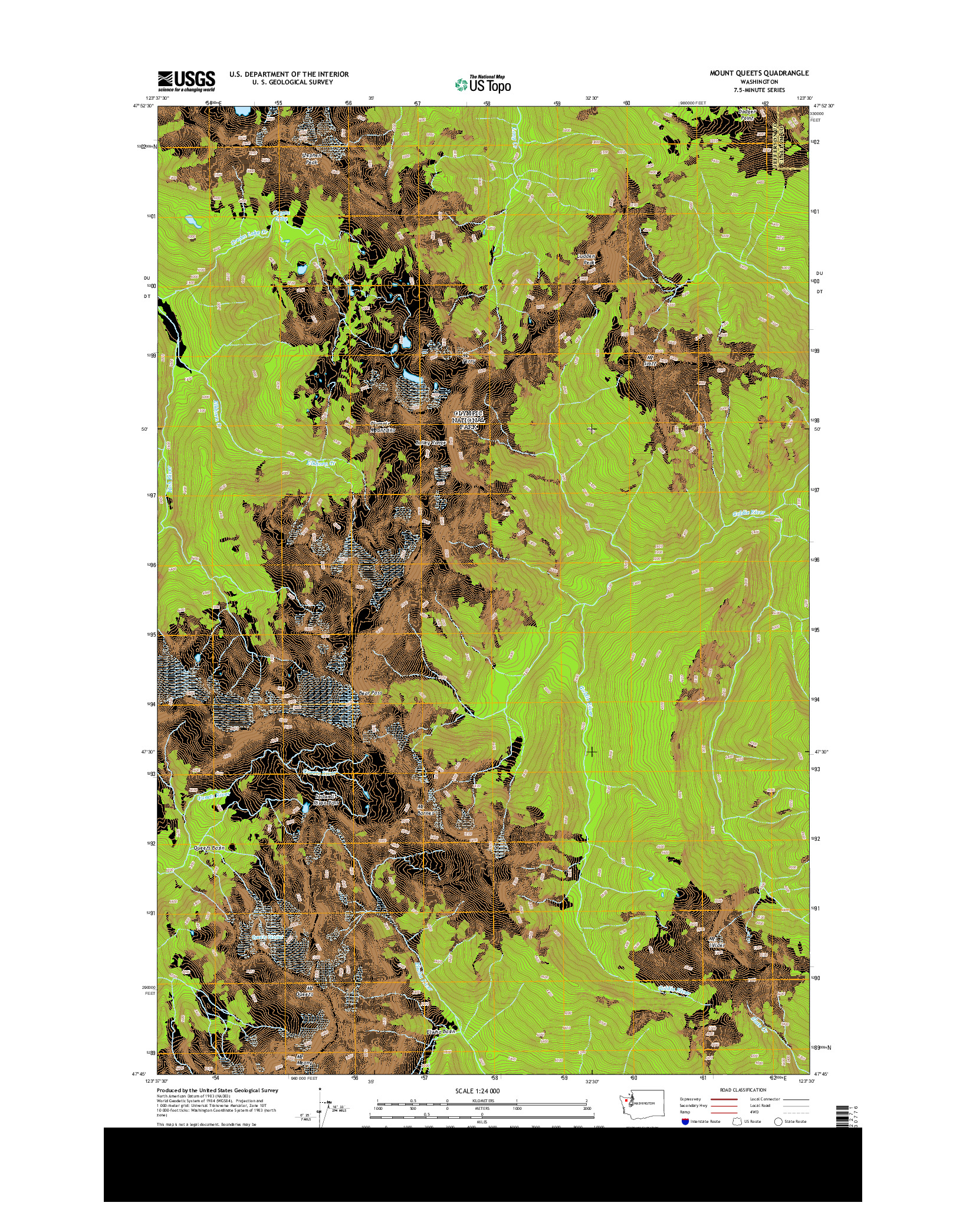 USGS US TOPO 7.5-MINUTE MAP FOR MOUNT QUEETS, WA 2014