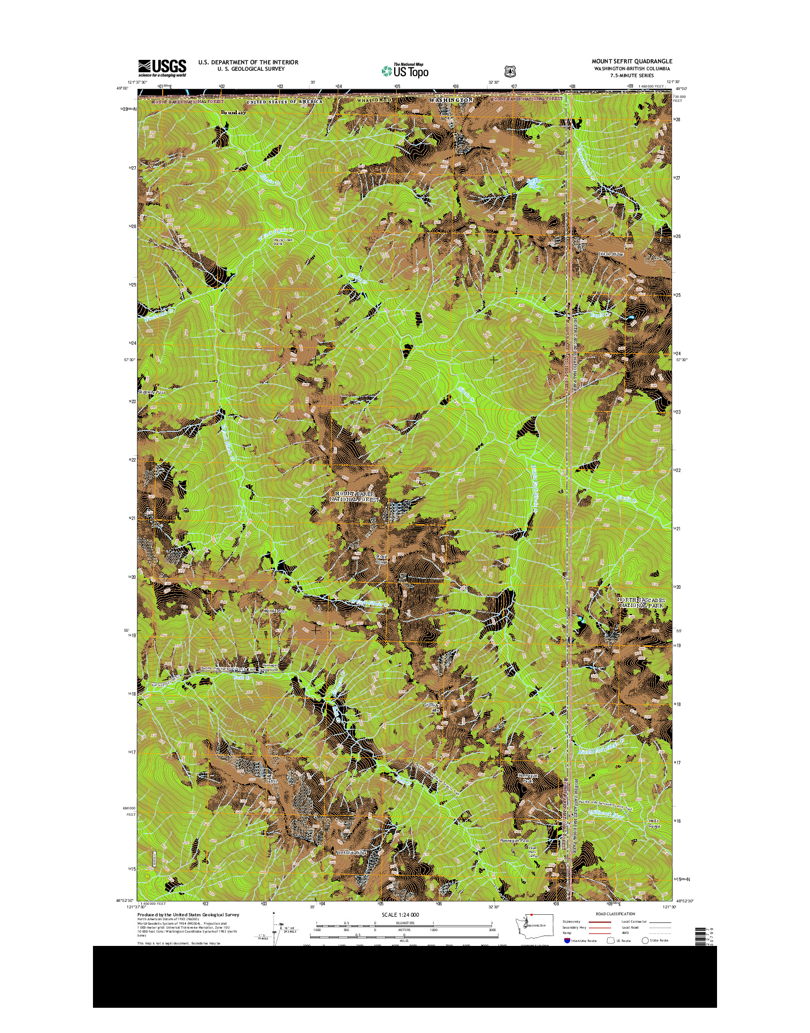 USGS US TOPO 7.5-MINUTE MAP FOR MOUNT SEFRIT, WA-BC 2014