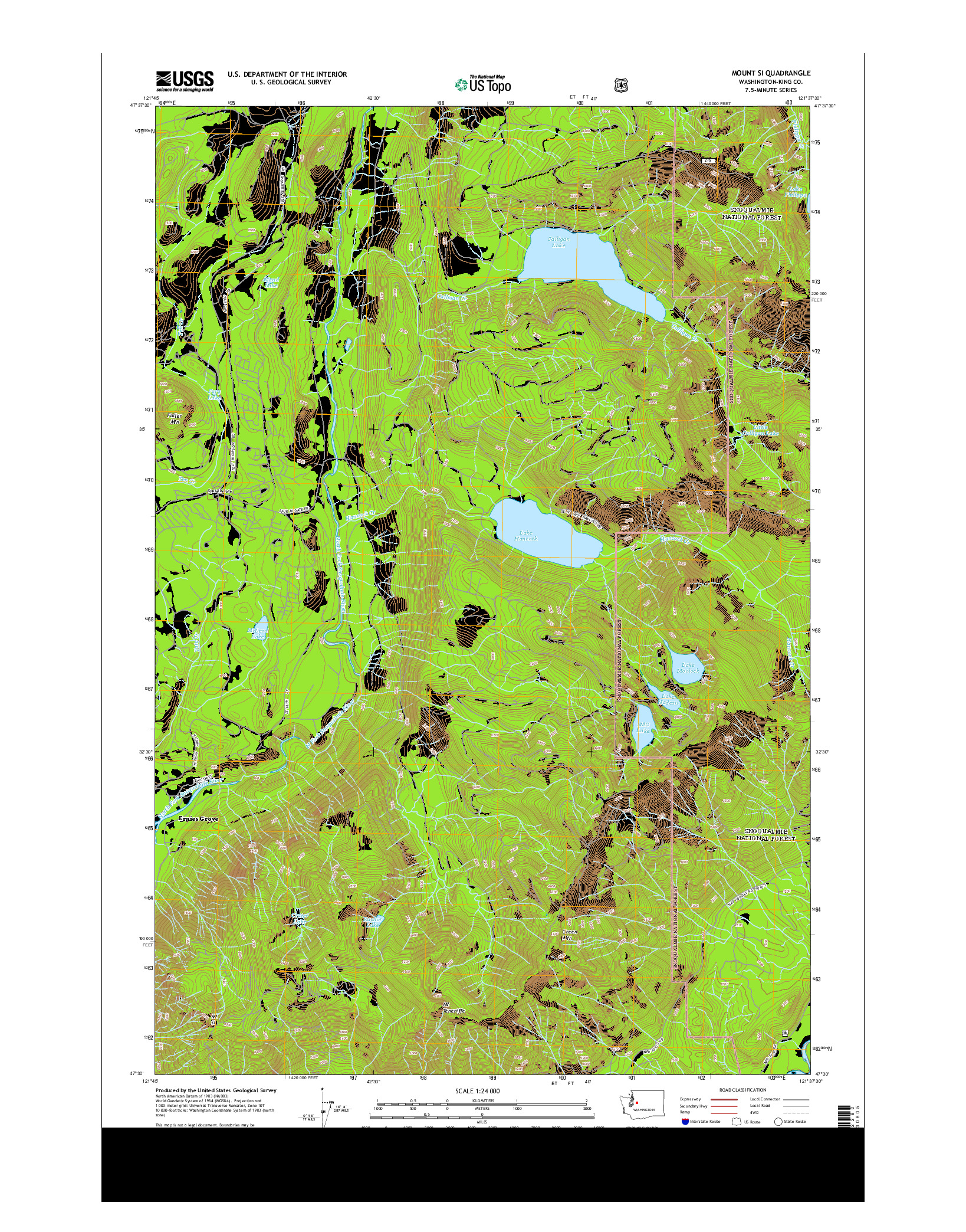 USGS US TOPO 7.5-MINUTE MAP FOR MOUNT SI, WA 2014