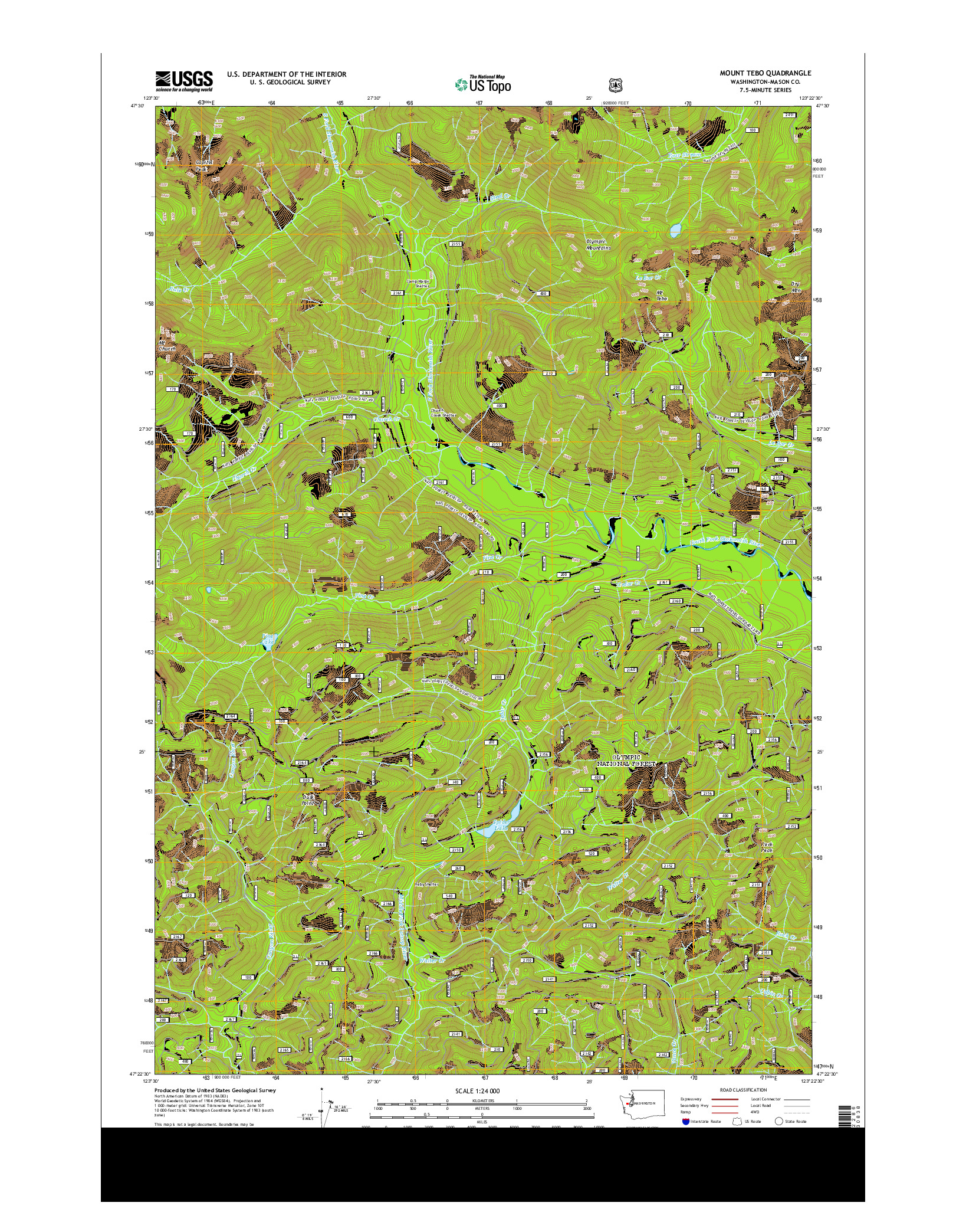 USGS US TOPO 7.5-MINUTE MAP FOR MOUNT TEBO, WA 2014