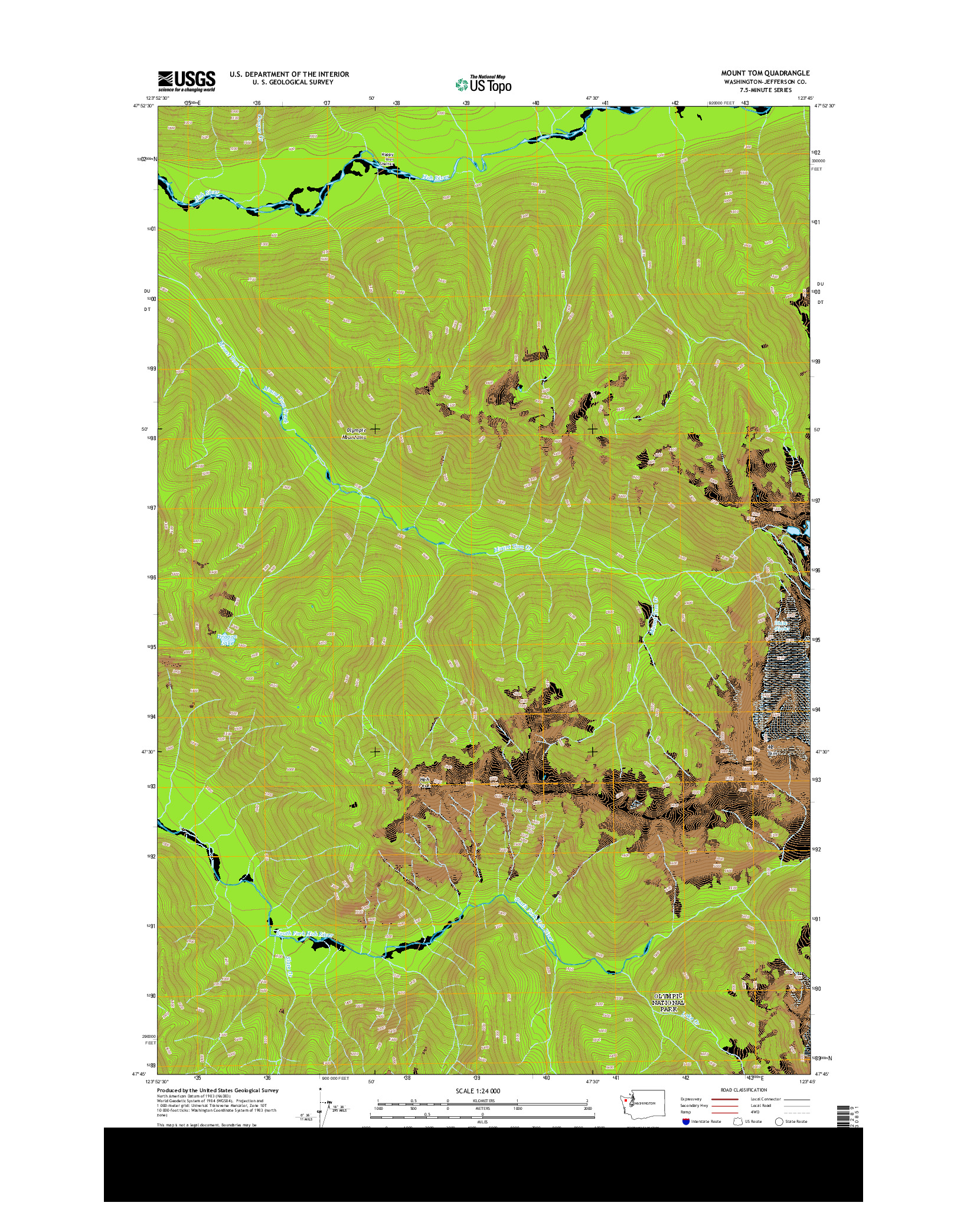 USGS US TOPO 7.5-MINUTE MAP FOR MOUNT TOM, WA 2014