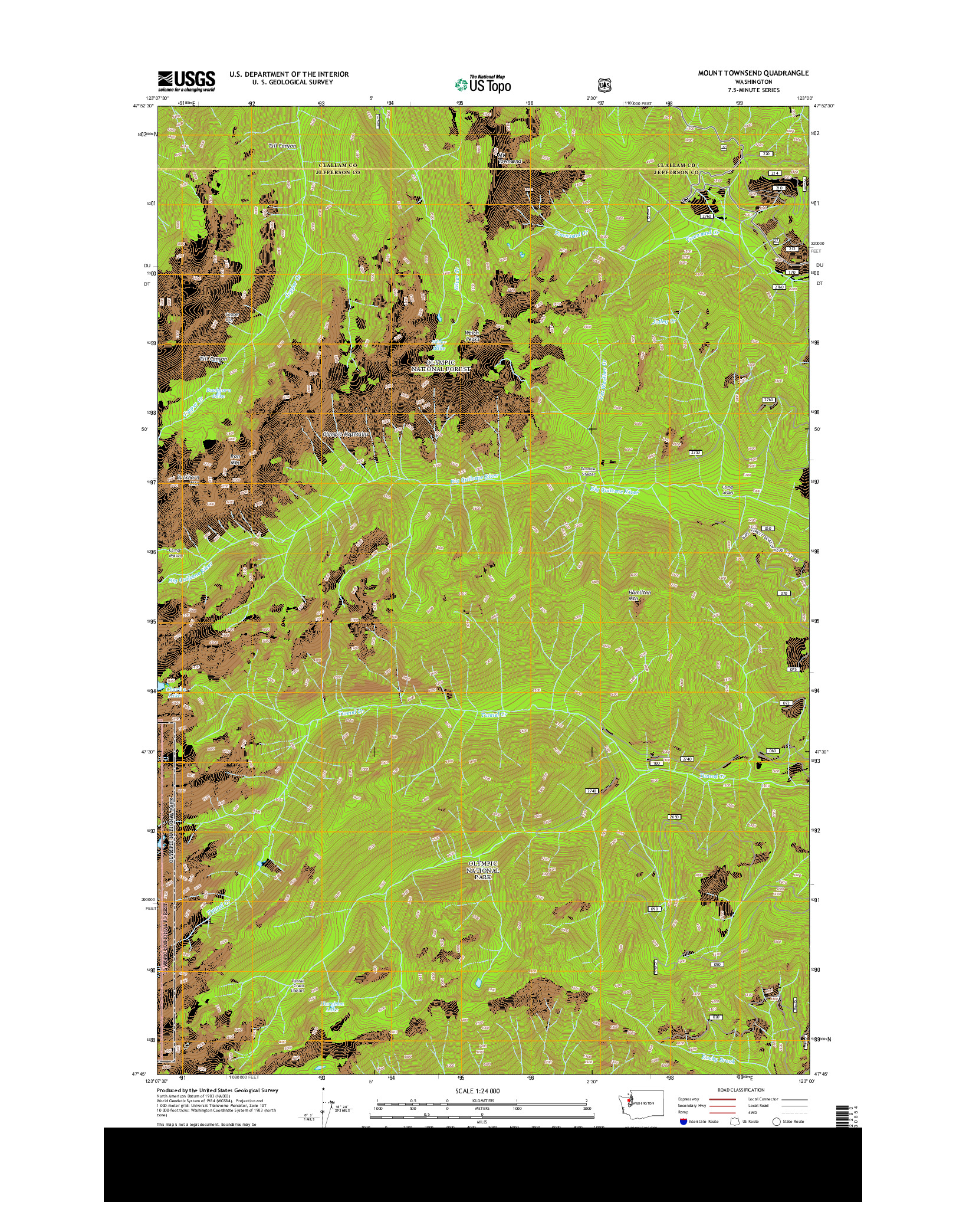 USGS US TOPO 7.5-MINUTE MAP FOR MOUNT TOWNSEND, WA 2014