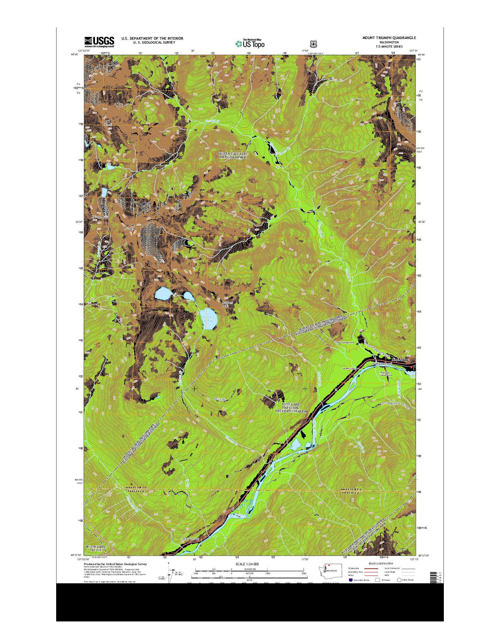 USGS US TOPO 7.5-MINUTE MAP FOR MOUNT TRIUMPH, WA 2014