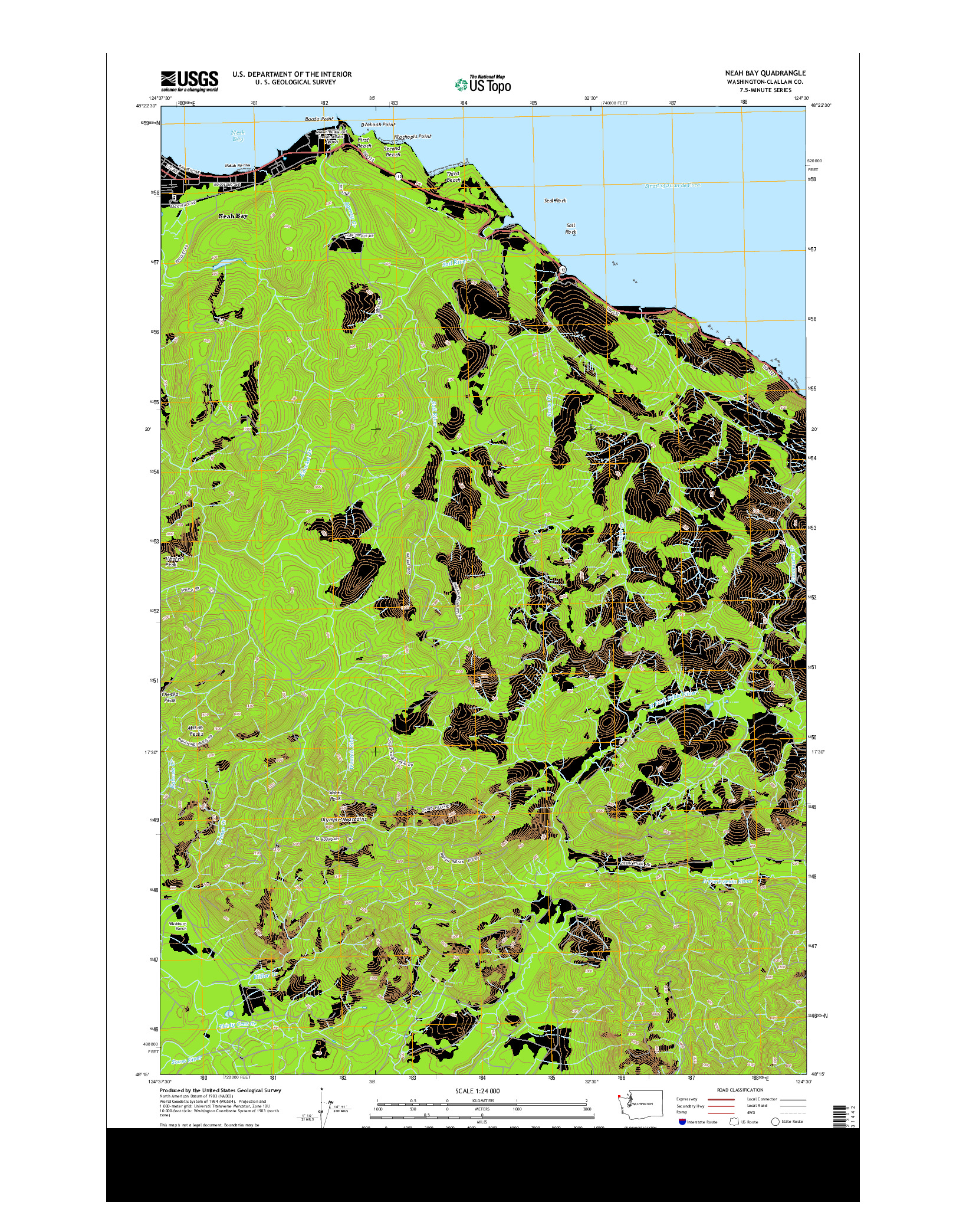 USGS US TOPO 7.5-MINUTE MAP FOR NEAH BAY, WA 2014