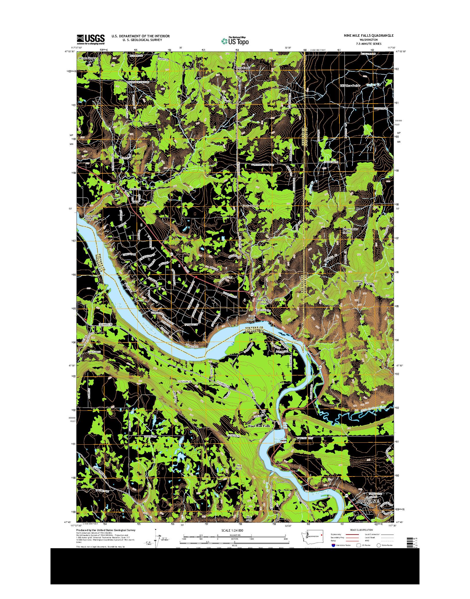 USGS US TOPO 7.5-MINUTE MAP FOR NINE MILE FALLS, WA 2014