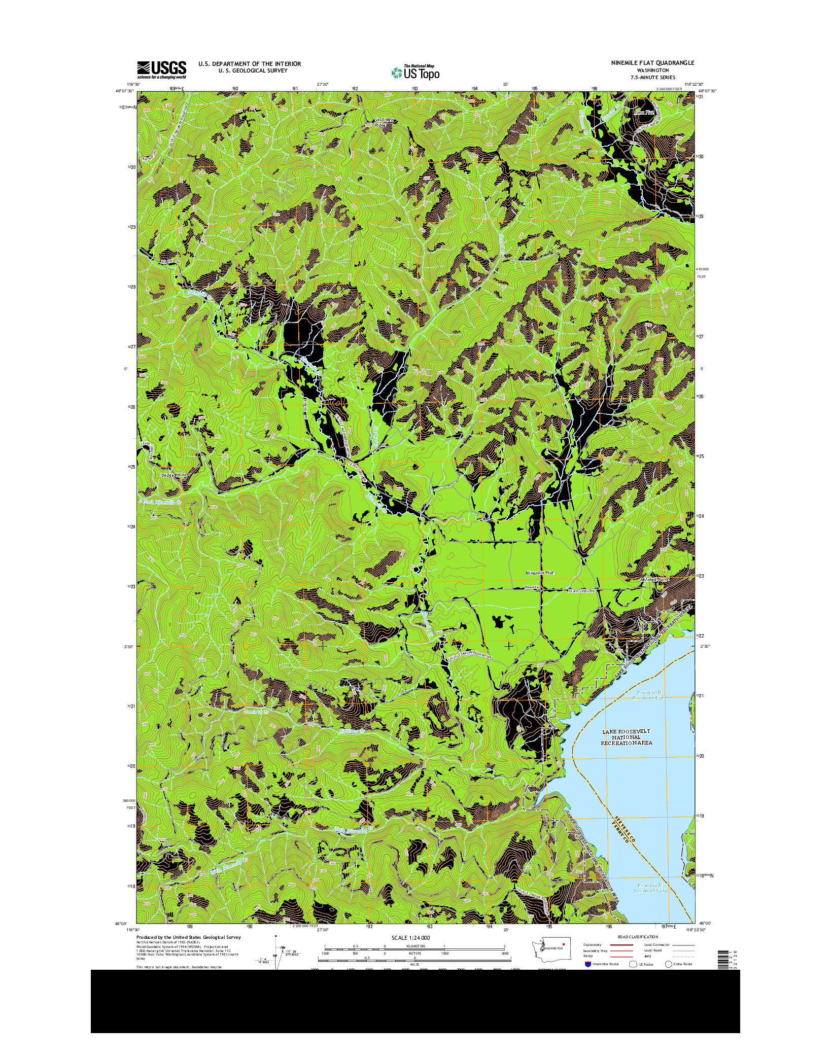 USGS US TOPO 7.5-MINUTE MAP FOR NINEMILE FLAT, WA 2014