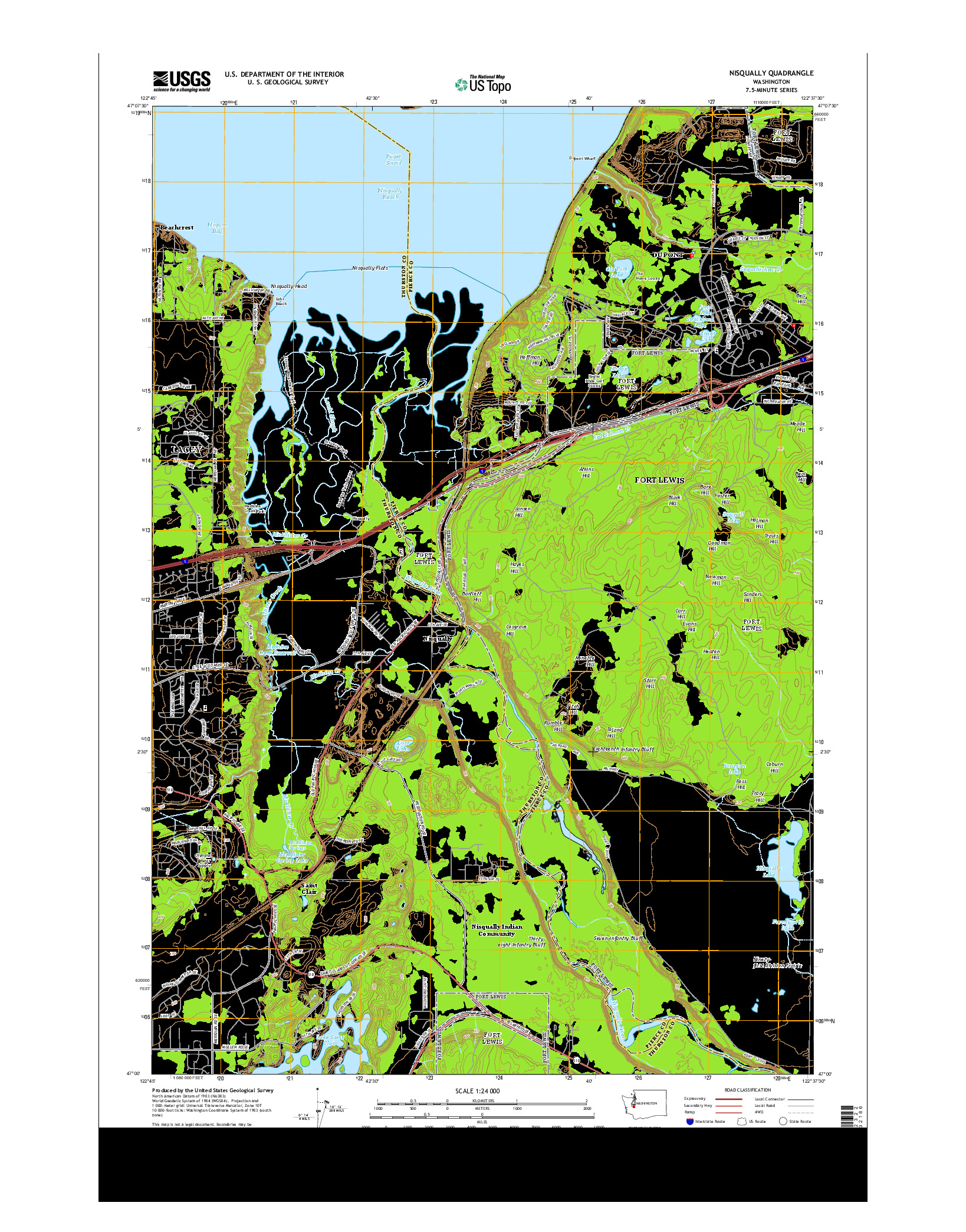 USGS US TOPO 7.5-MINUTE MAP FOR NISQUALLY, WA 2014