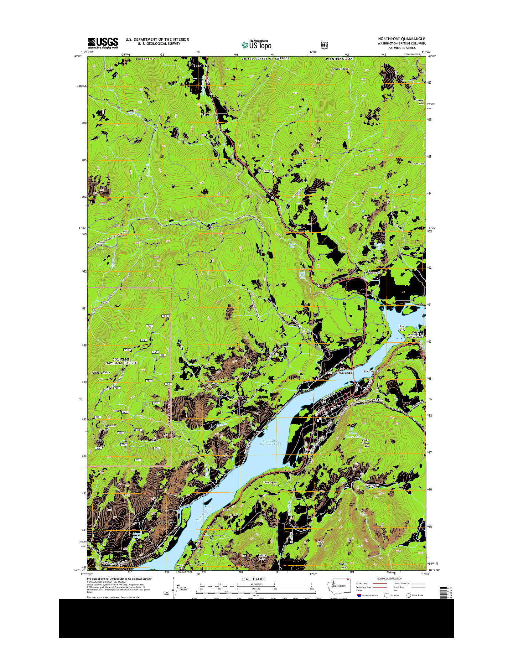 USGS US TOPO 7.5-MINUTE MAP FOR NORTHPORT, WA-BC 2014