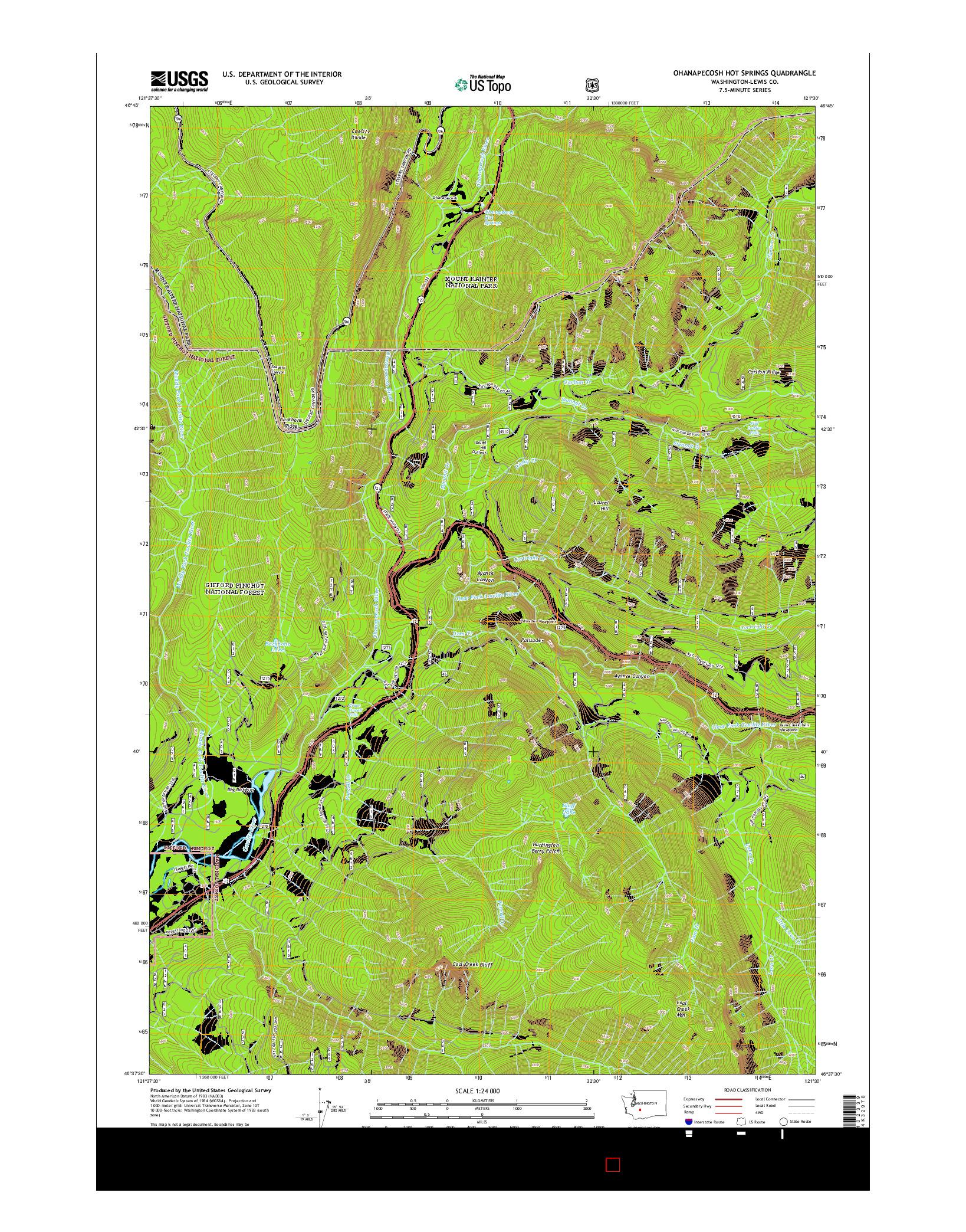 USGS US TOPO 7.5-MINUTE MAP FOR OHANAPECOSH HOT SPRINGS, WA 2014