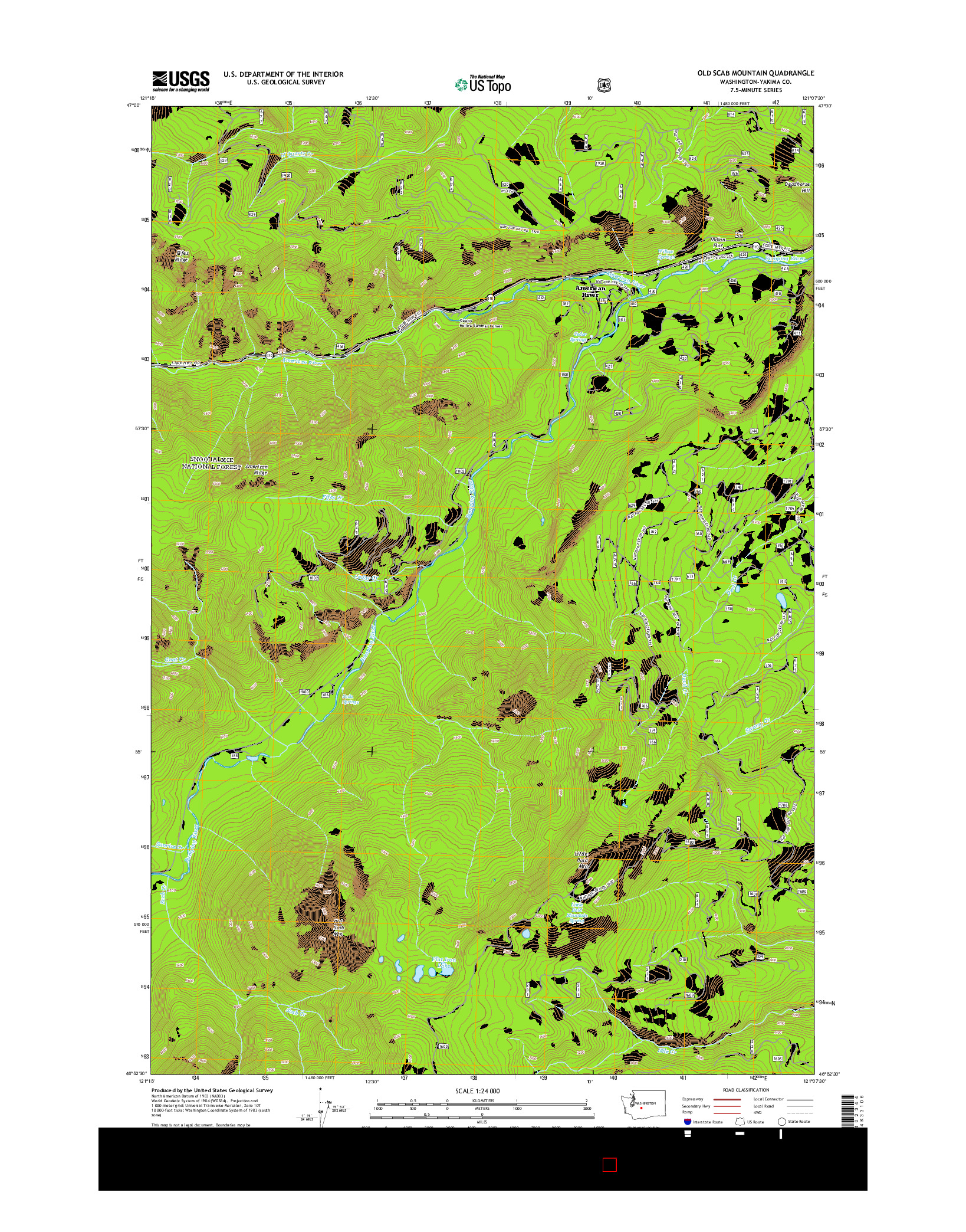 USGS US TOPO 7.5-MINUTE MAP FOR OLD SCAB MOUNTAIN, WA 2014