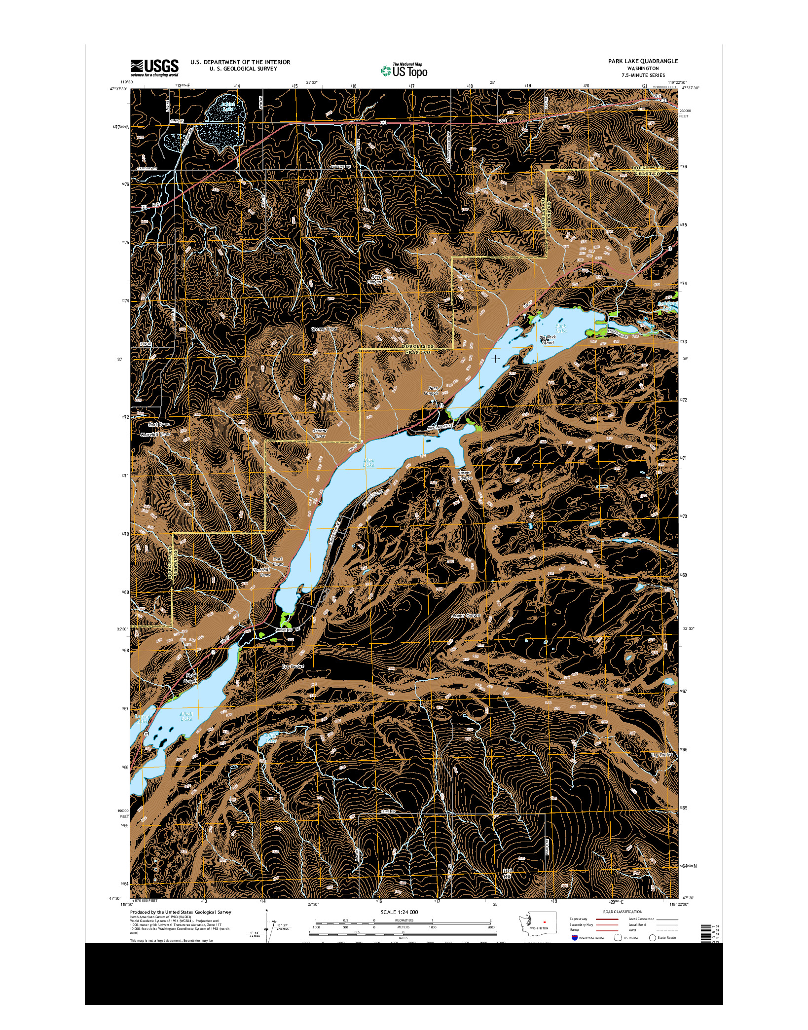 USGS US TOPO 7.5-MINUTE MAP FOR PARK LAKE, WA 2014