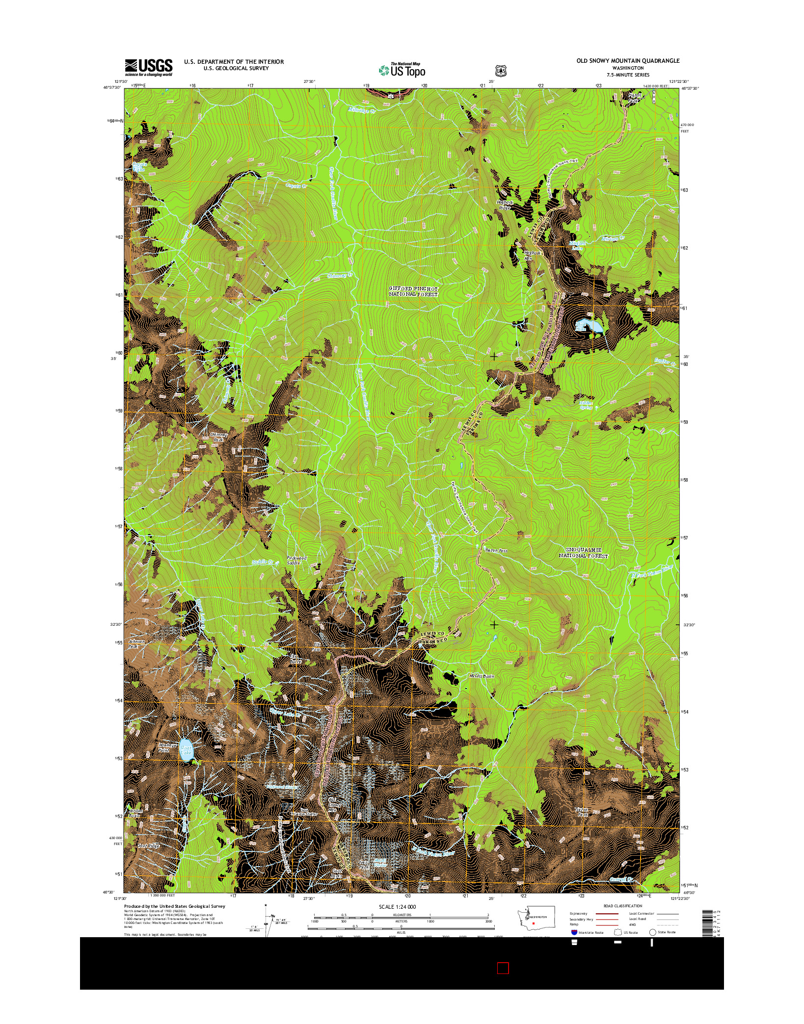 USGS US TOPO 7.5-MINUTE MAP FOR OLD SNOWY MOUNTAIN, WA 2014
