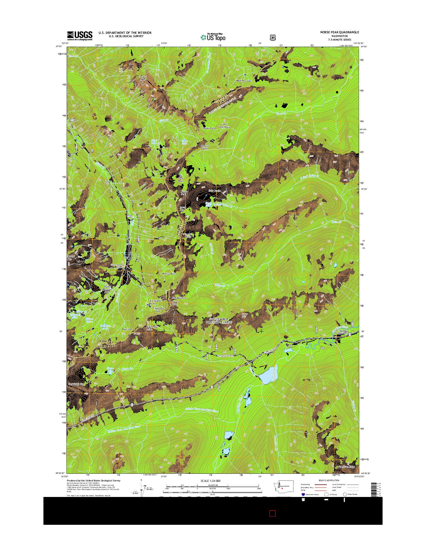 USGS US TOPO 7.5-MINUTE MAP FOR NORSE PEAK, WA 2014