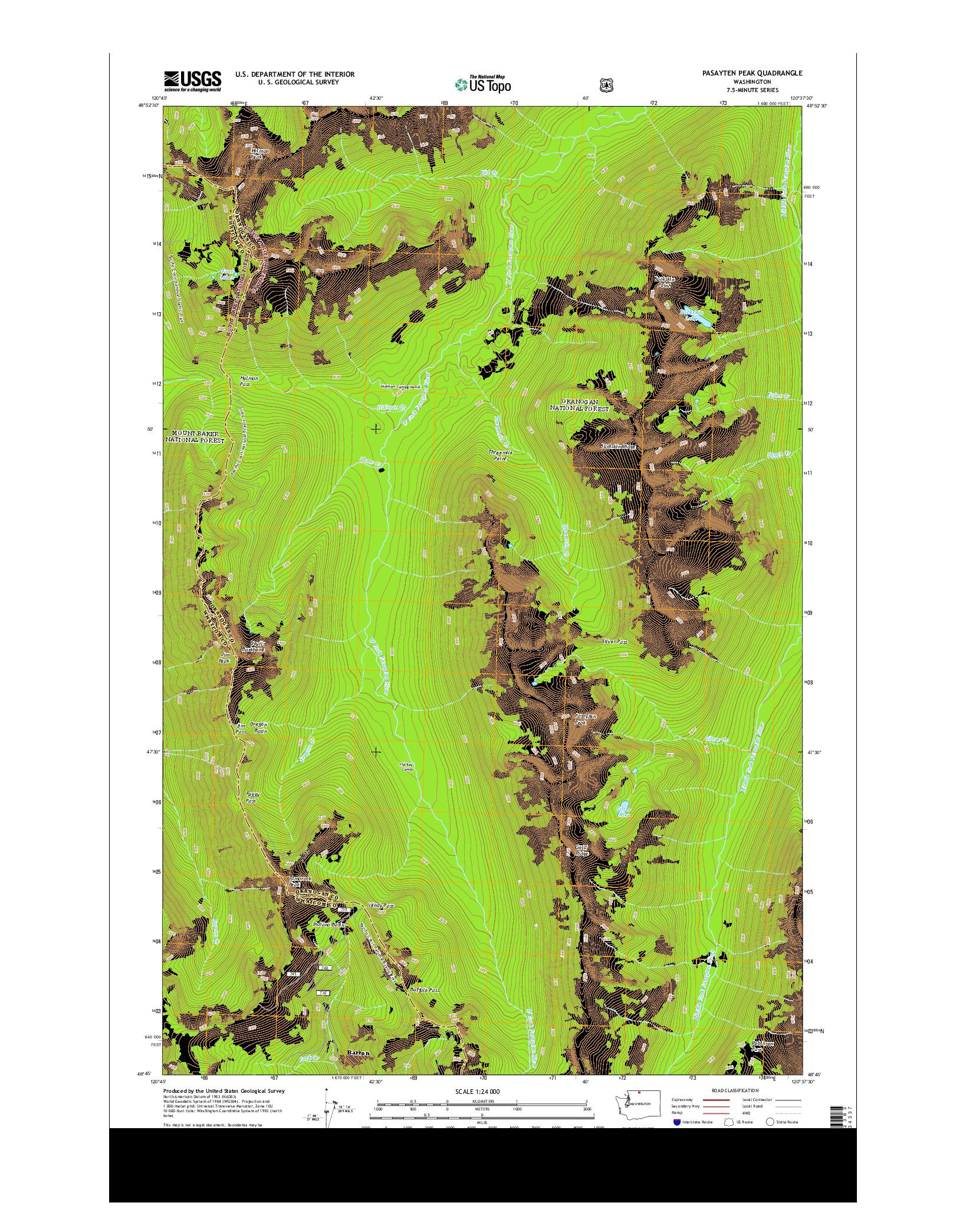 USGS US TOPO 7.5-MINUTE MAP FOR PASAYTEN PEAK, WA 2014
