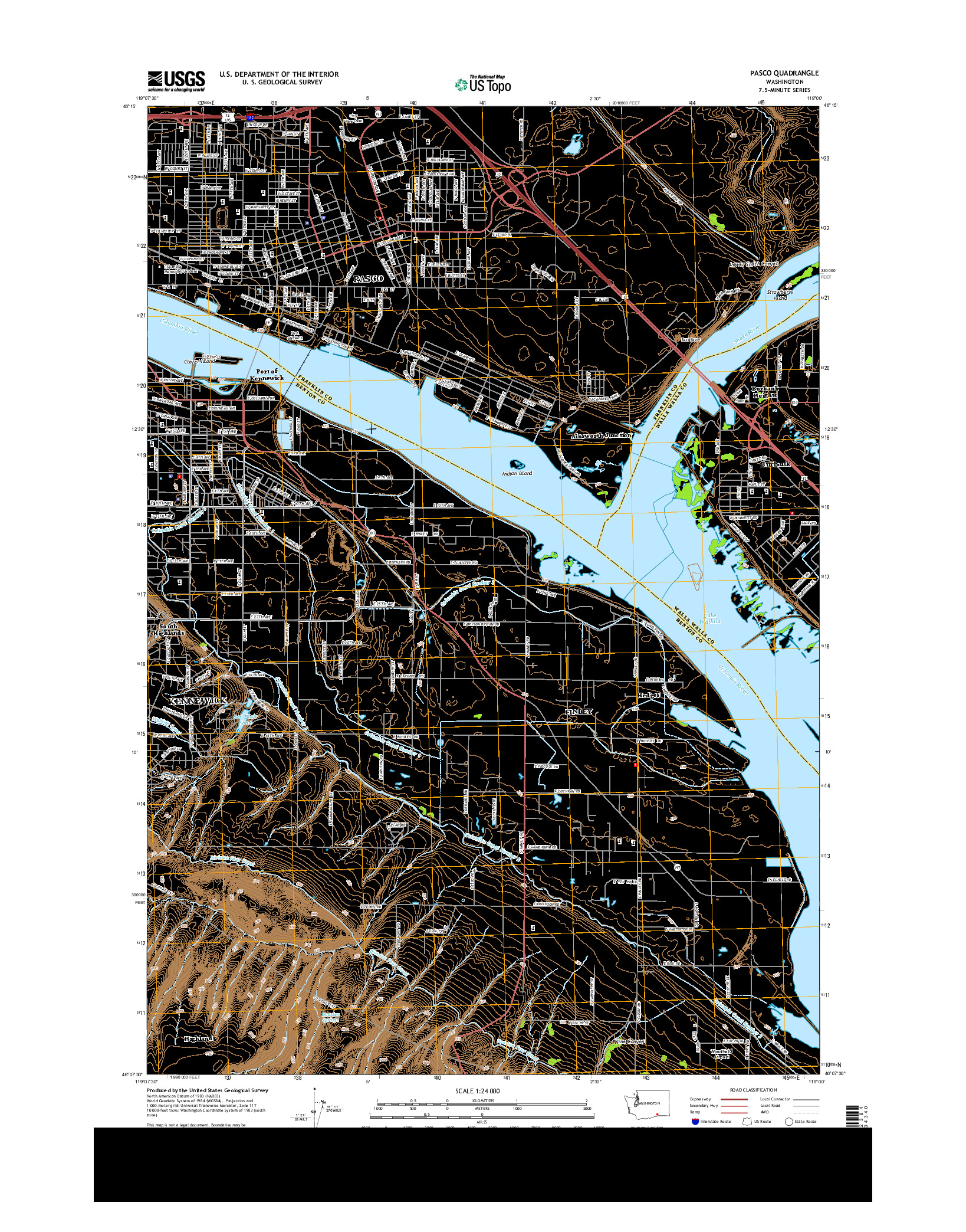USGS US TOPO 7.5-MINUTE MAP FOR PASCO, WA 2014