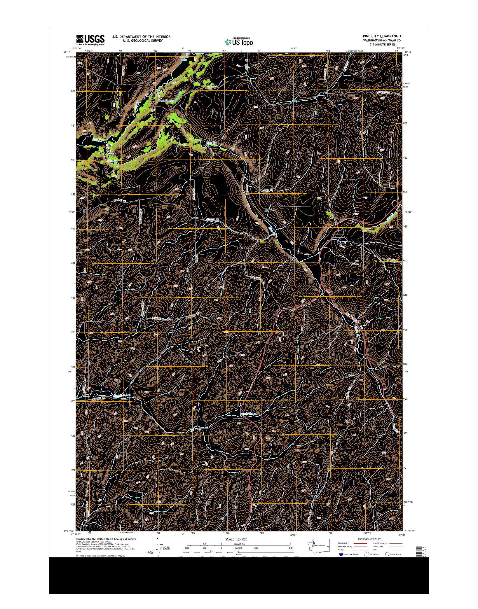 USGS US TOPO 7.5-MINUTE MAP FOR PINE CITY, WA 2014