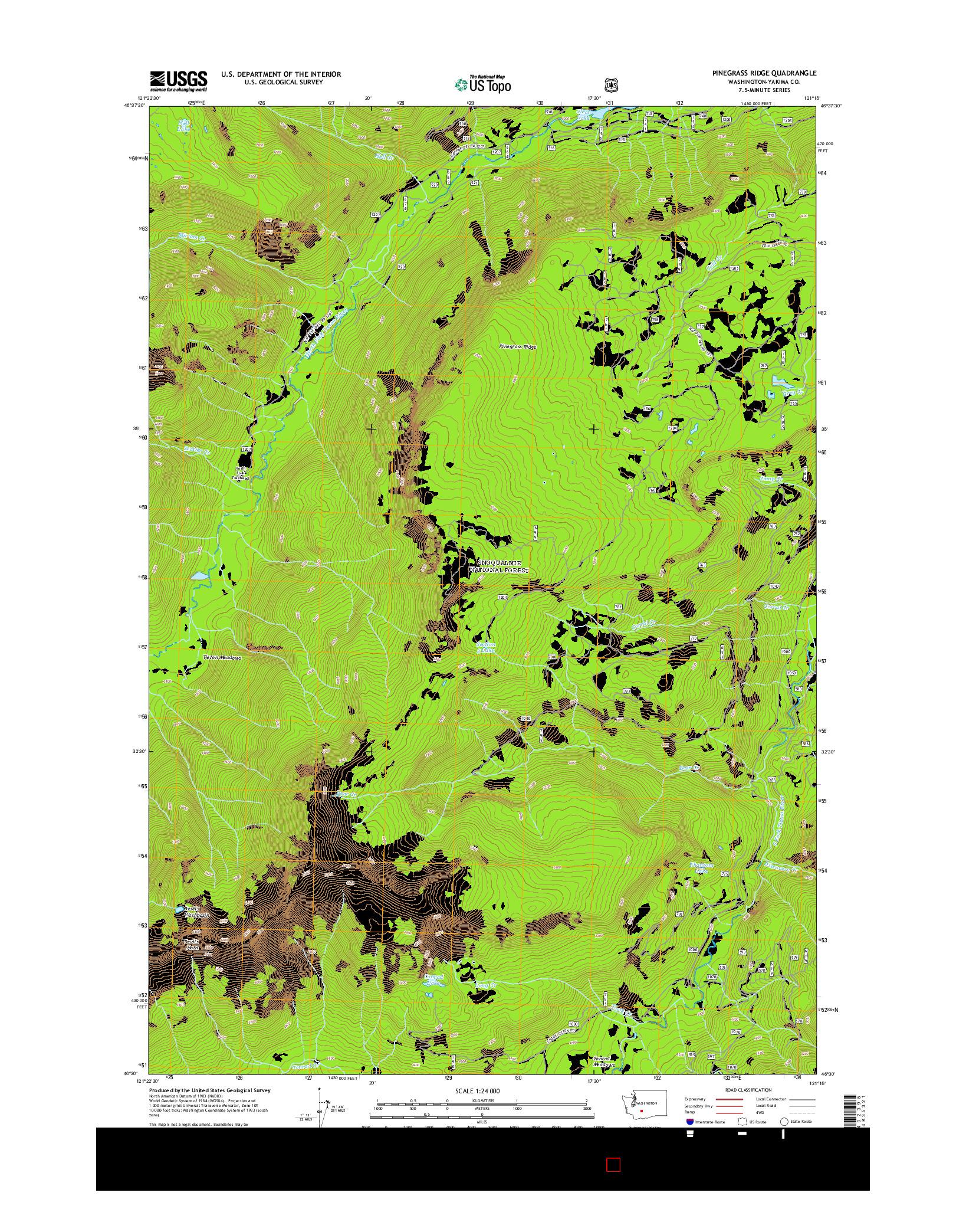 USGS US TOPO 7.5-MINUTE MAP FOR PINEGRASS RIDGE, WA 2014
