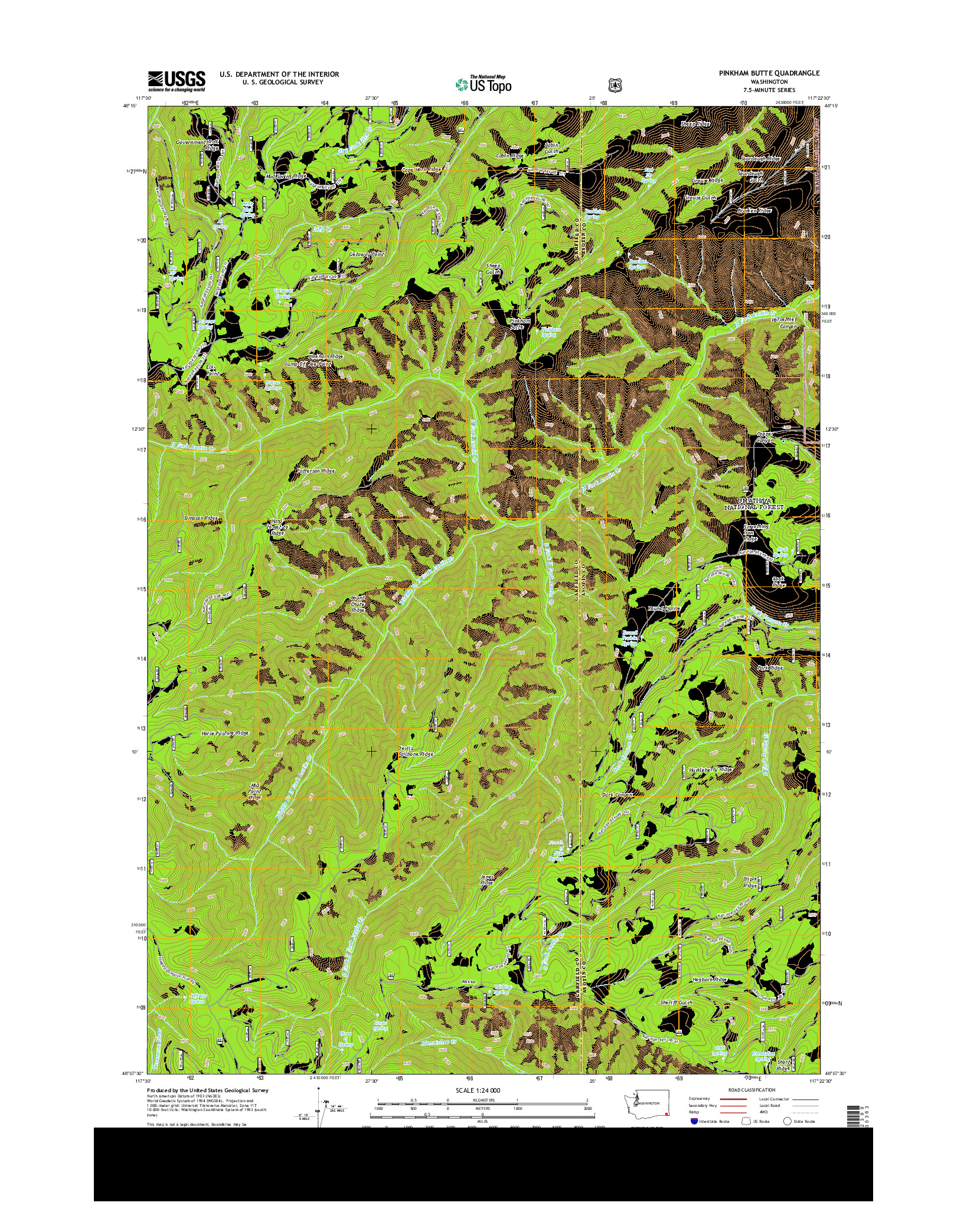 USGS US TOPO 7.5-MINUTE MAP FOR PINKHAM BUTTE, WA 2014