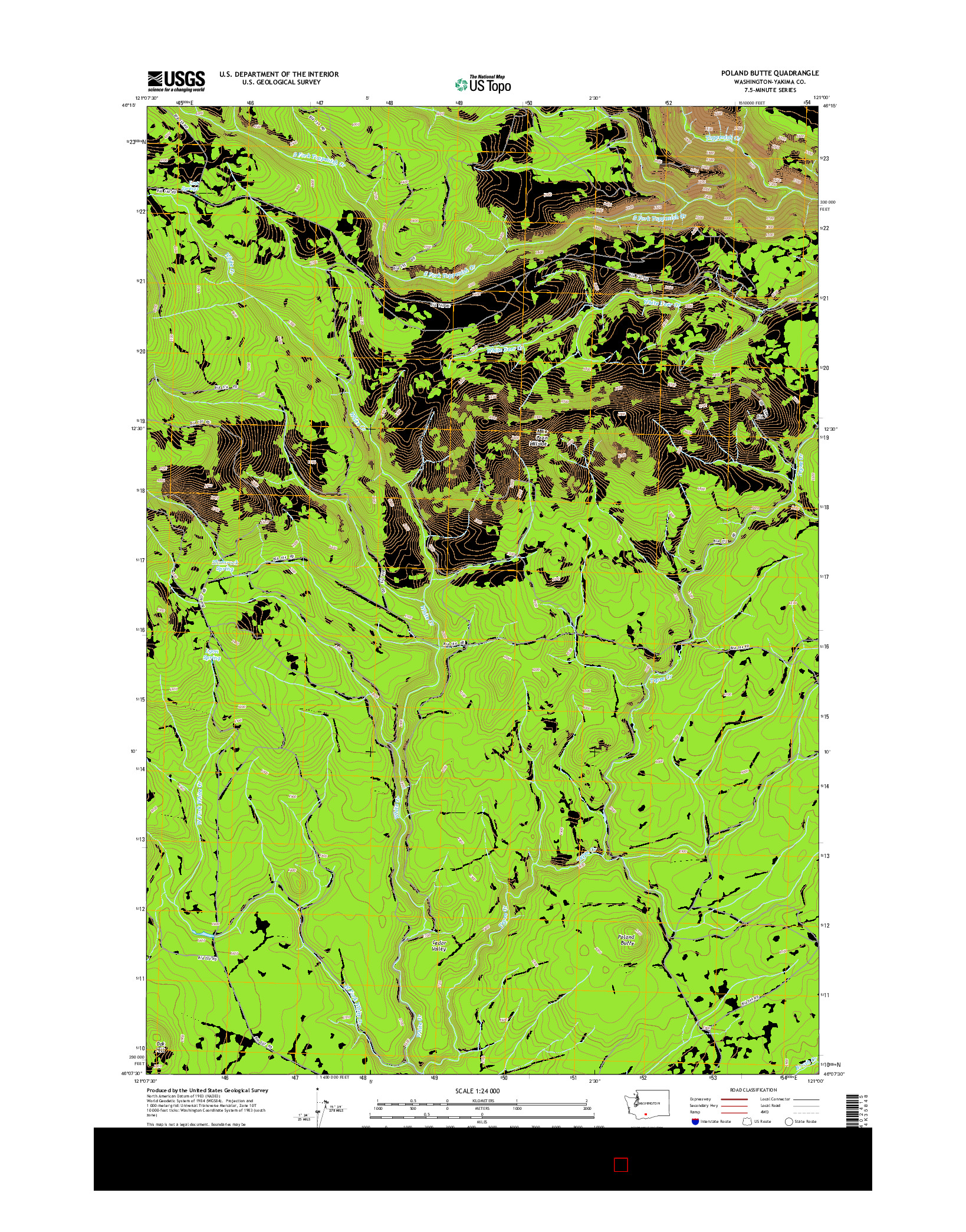 USGS US TOPO 7.5-MINUTE MAP FOR POLAND BUTTE, WA 2014
