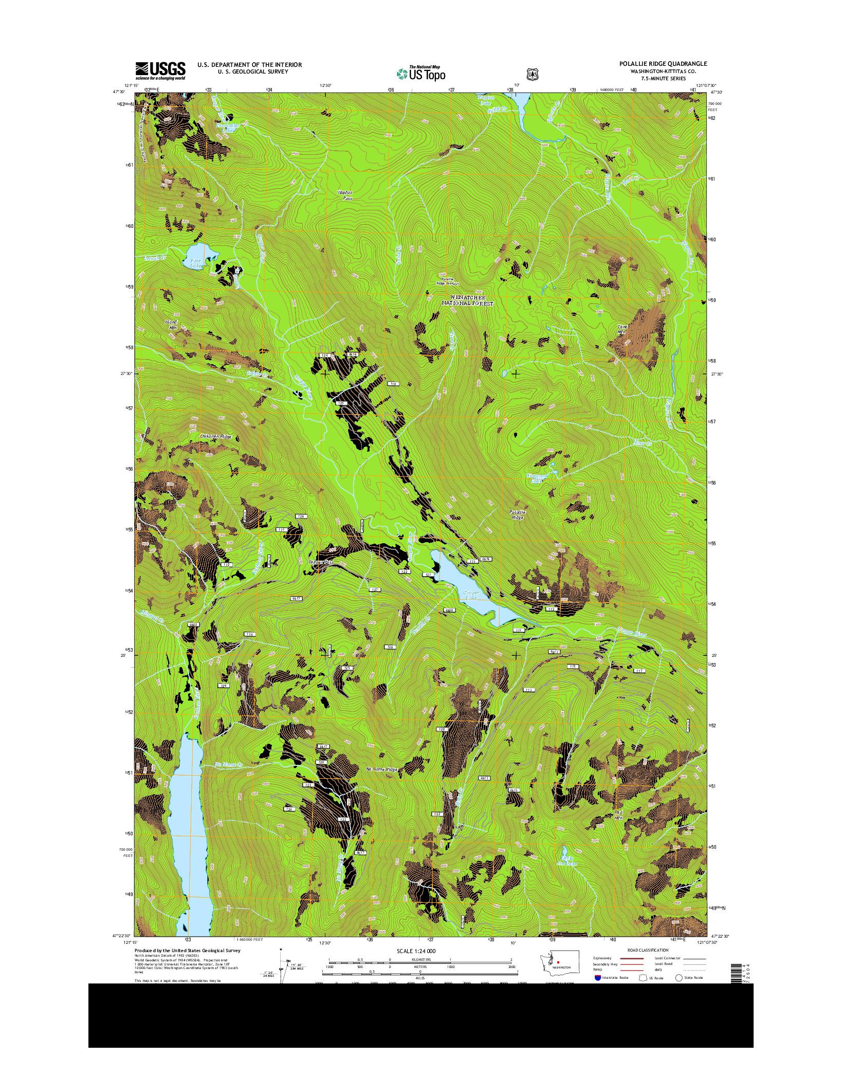 USGS US TOPO 7.5-MINUTE MAP FOR POLALLIE RIDGE, WA 2014
