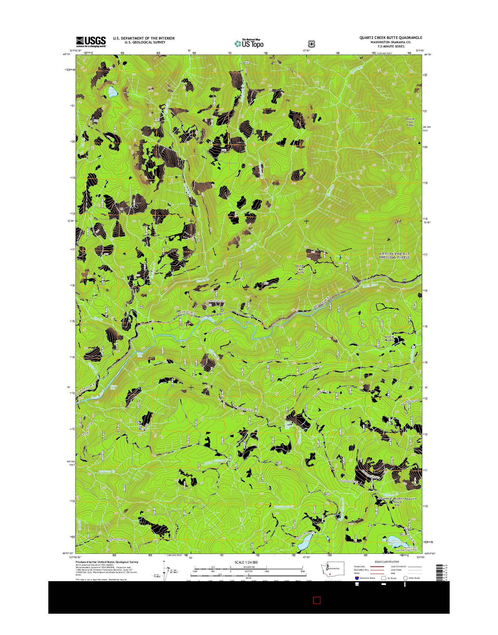 USGS US TOPO 7.5-MINUTE MAP FOR QUARTZ CREEK BUTTE, WA 2014