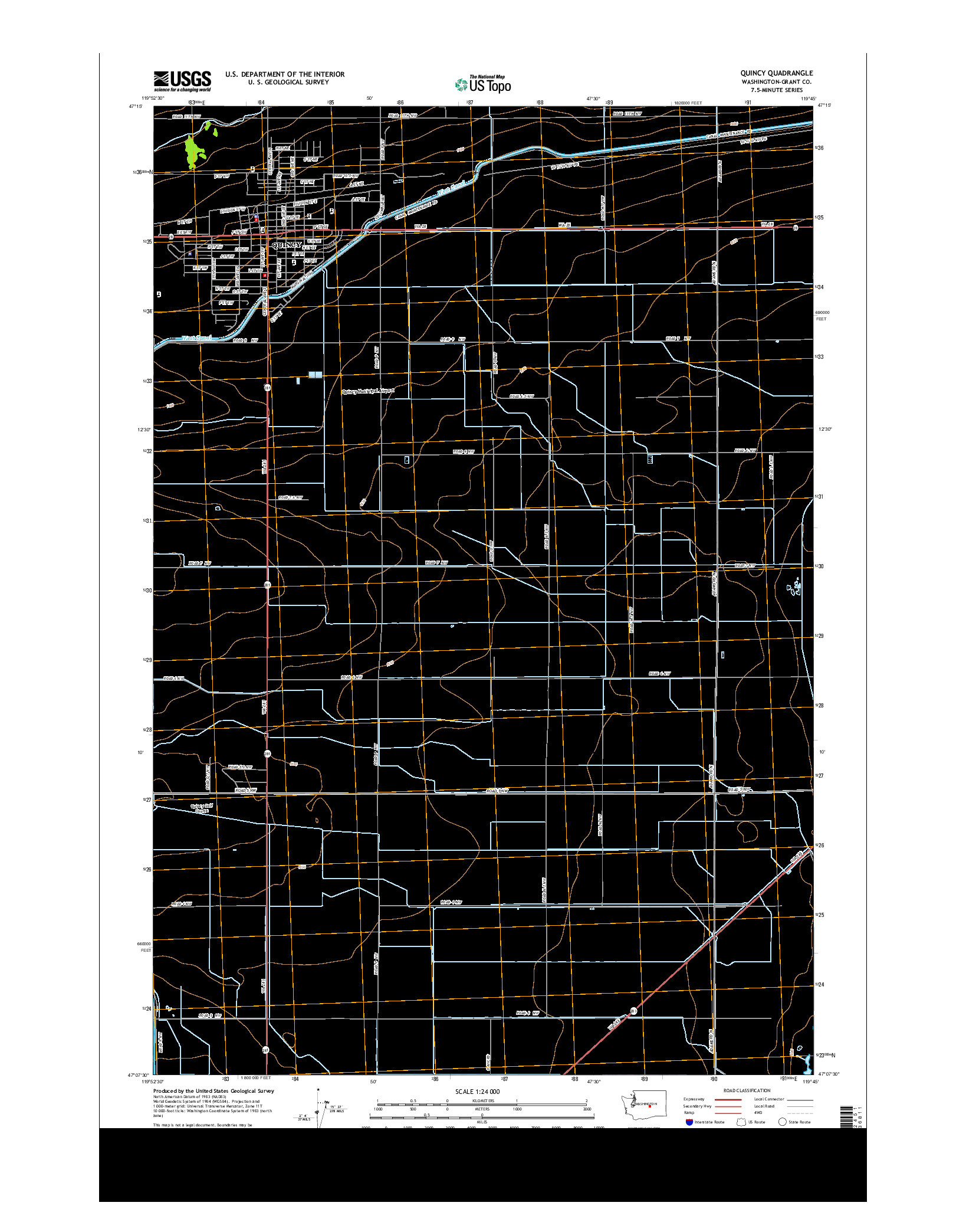 USGS US TOPO 7.5-MINUTE MAP FOR QUINCY, WA 2014