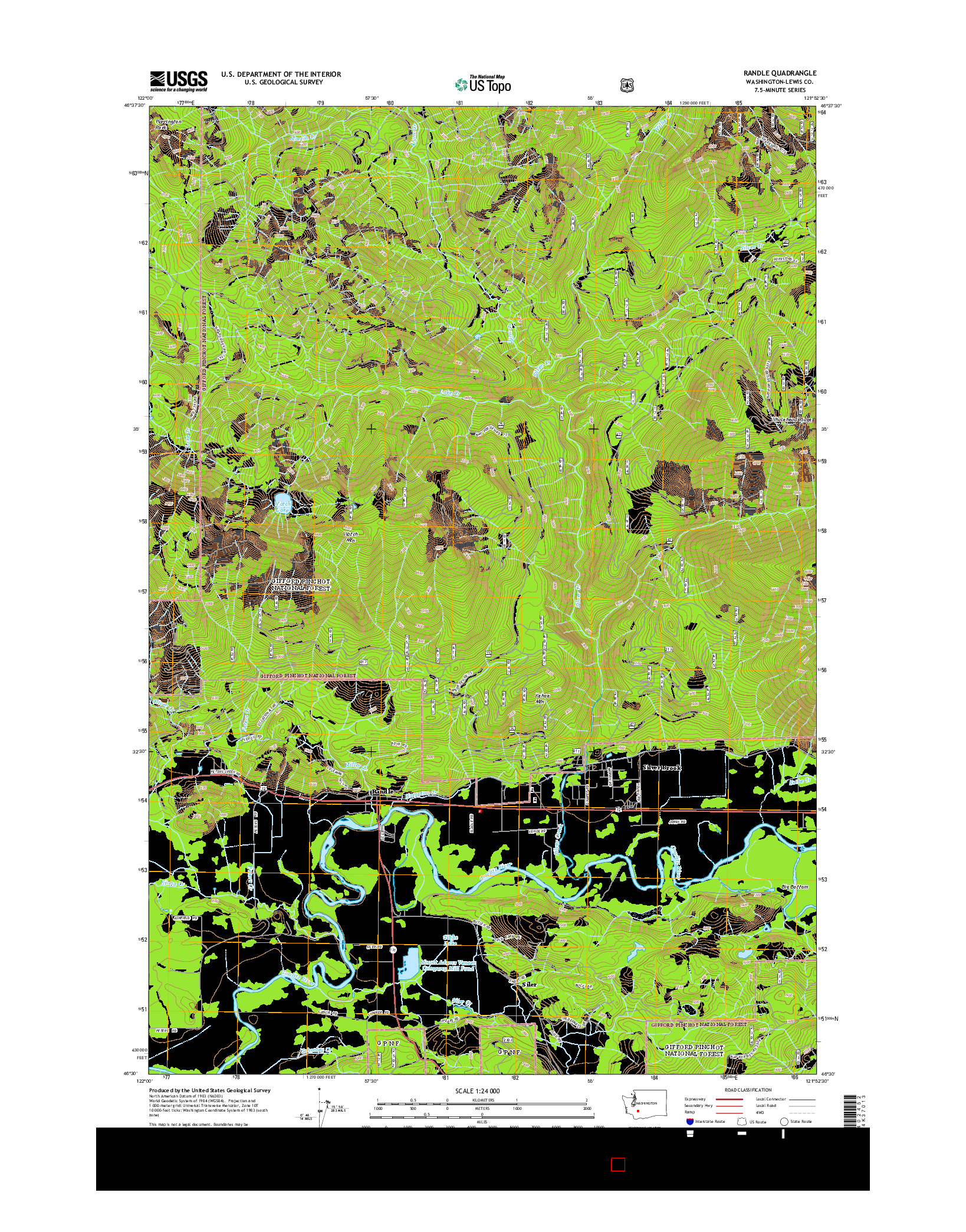 USGS US TOPO 7.5-MINUTE MAP FOR RANDLE, WA 2014