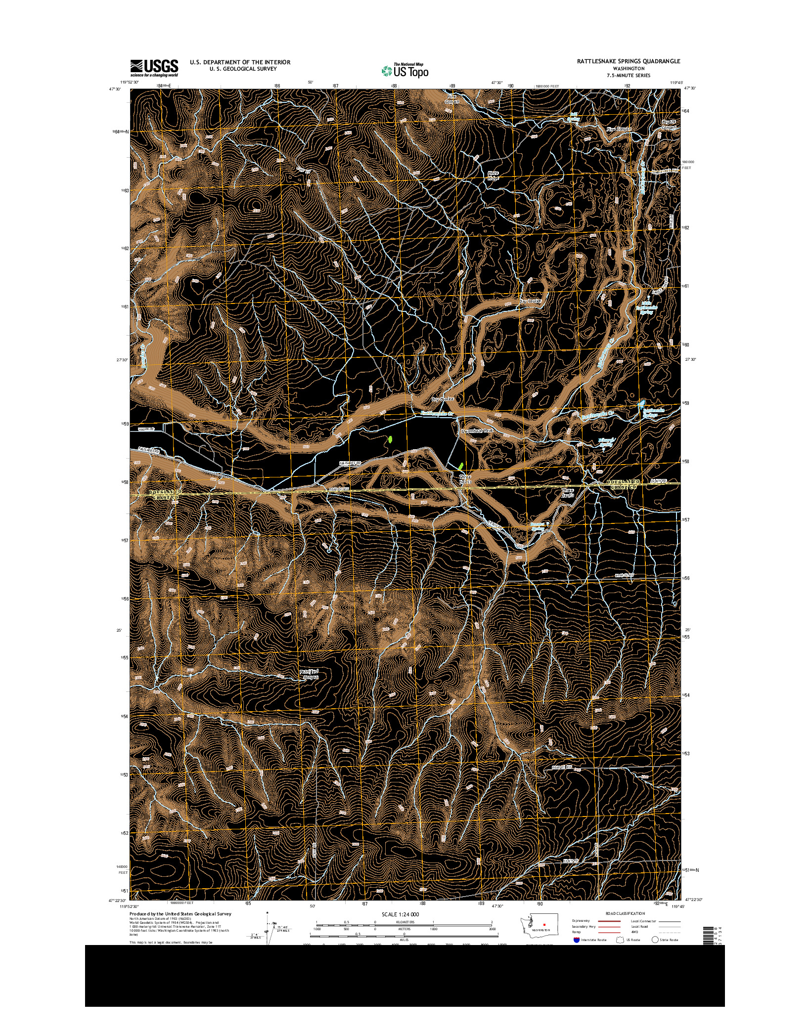 USGS US TOPO 7.5-MINUTE MAP FOR RATTLESNAKE SPRINGS, WA 2014
