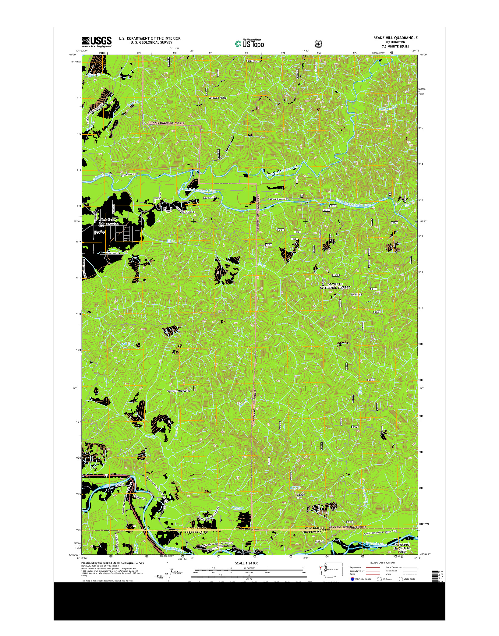 USGS US TOPO 7.5-MINUTE MAP FOR READE HILL, WA 2014