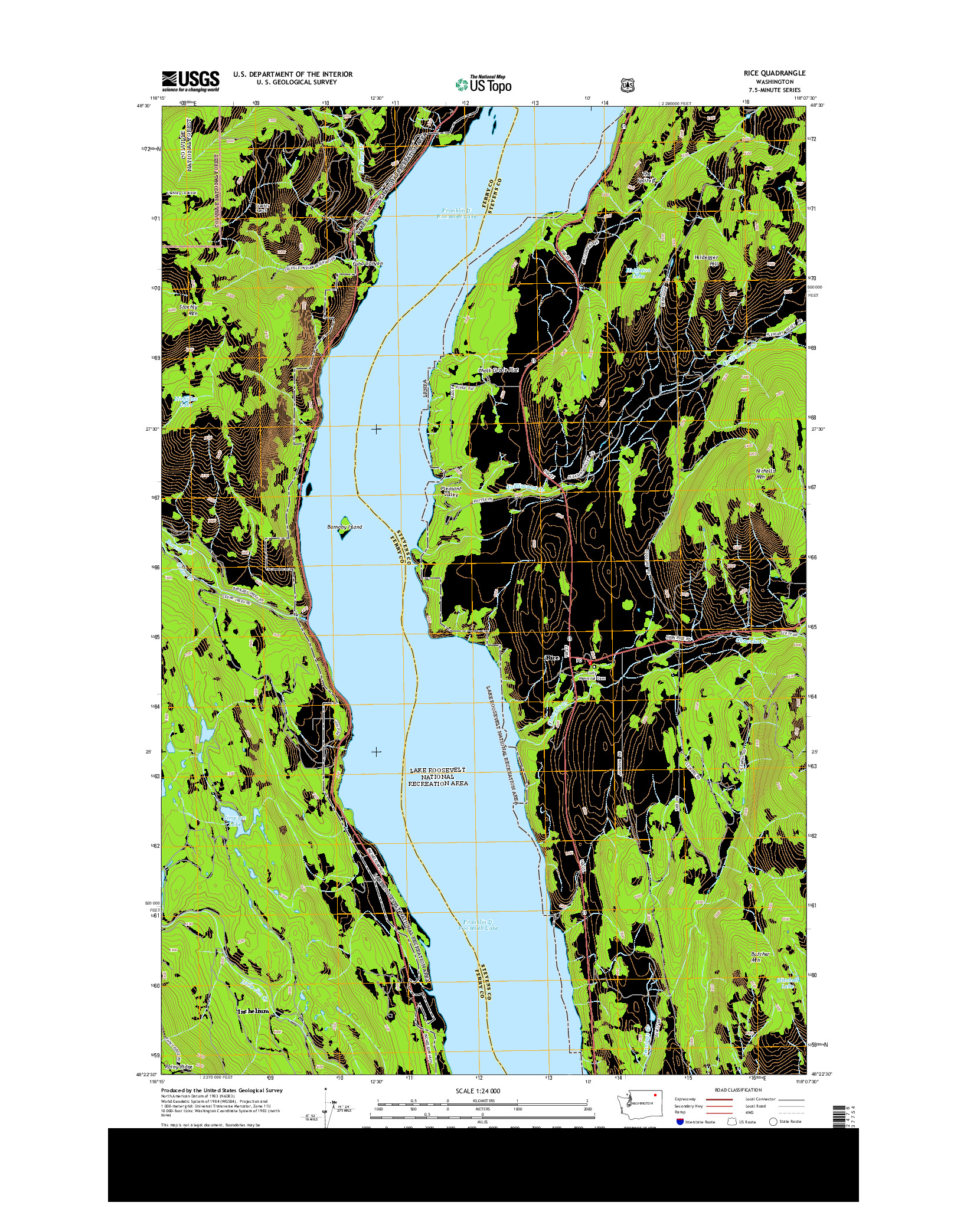 USGS US TOPO 7.5-MINUTE MAP FOR RICE, WA 2014