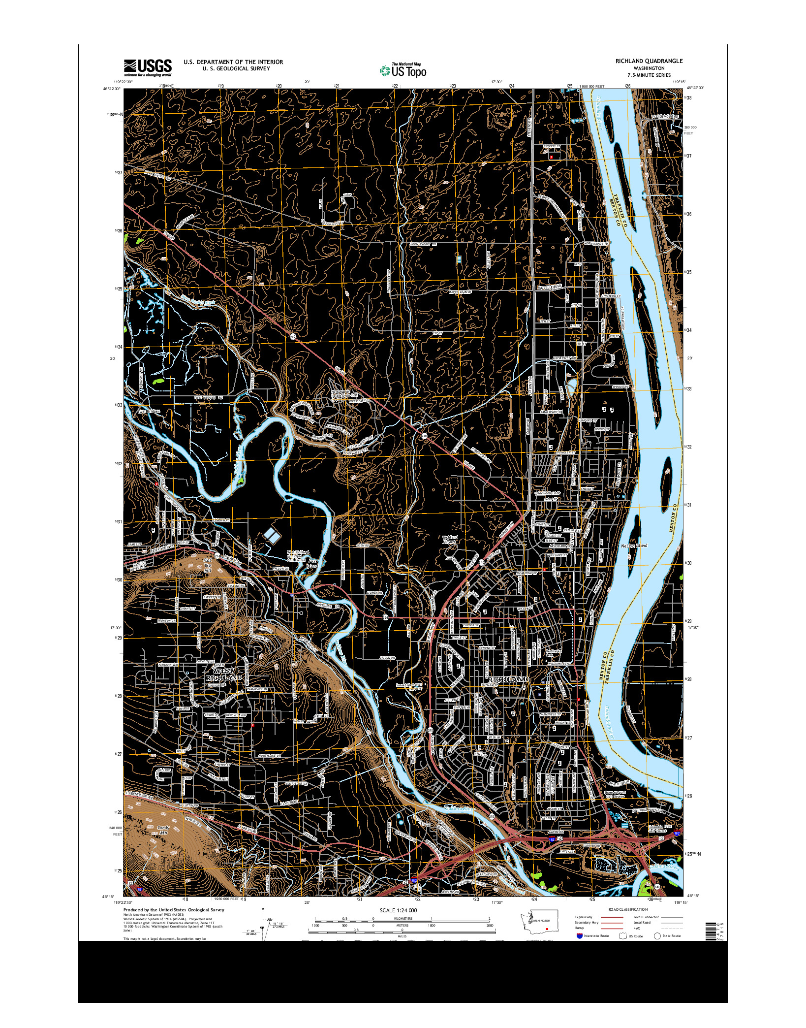 USGS US TOPO 7.5-MINUTE MAP FOR RICHLAND, WA 2014