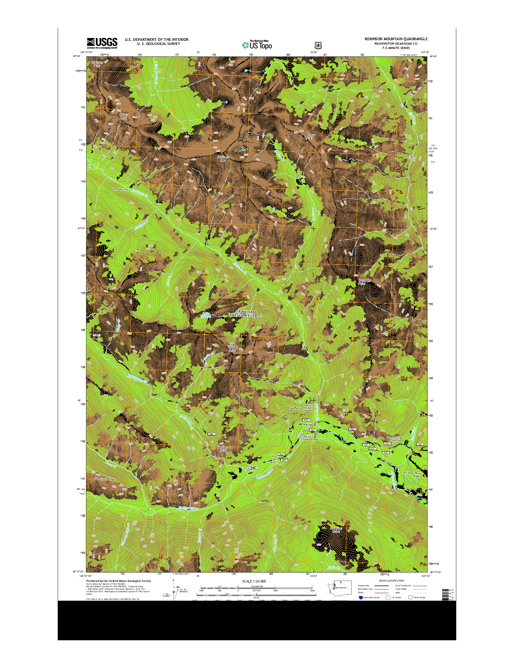 USGS US TOPO 7.5-MINUTE MAP FOR ROBINSON MOUNTAIN, WA 2014