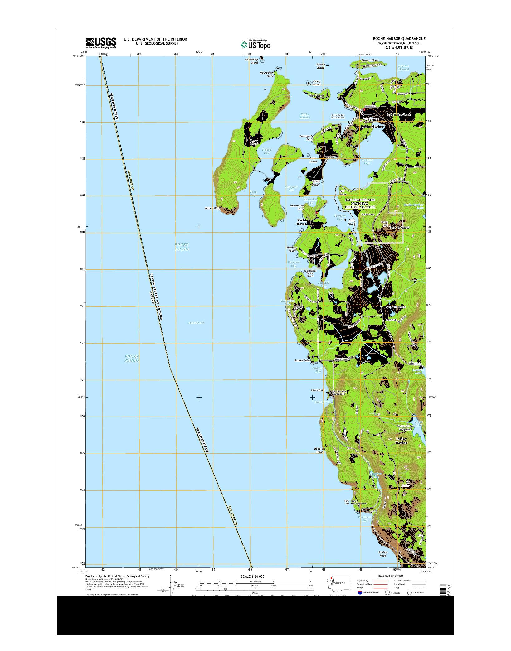 USGS US TOPO 7.5-MINUTE MAP FOR ROCHE HARBOR, WA 2014
