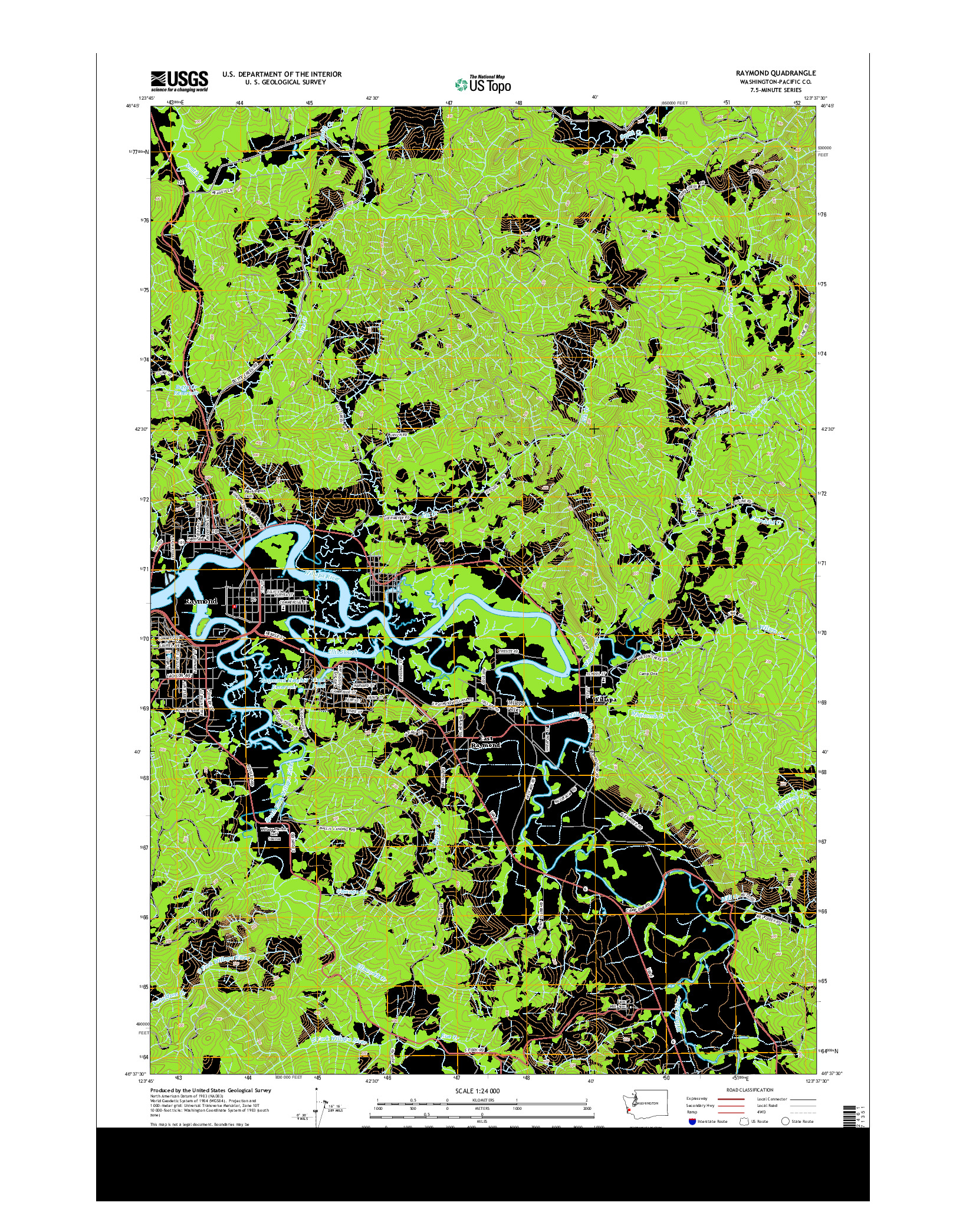 USGS US TOPO 7.5-MINUTE MAP FOR RAYMOND, WA 2014