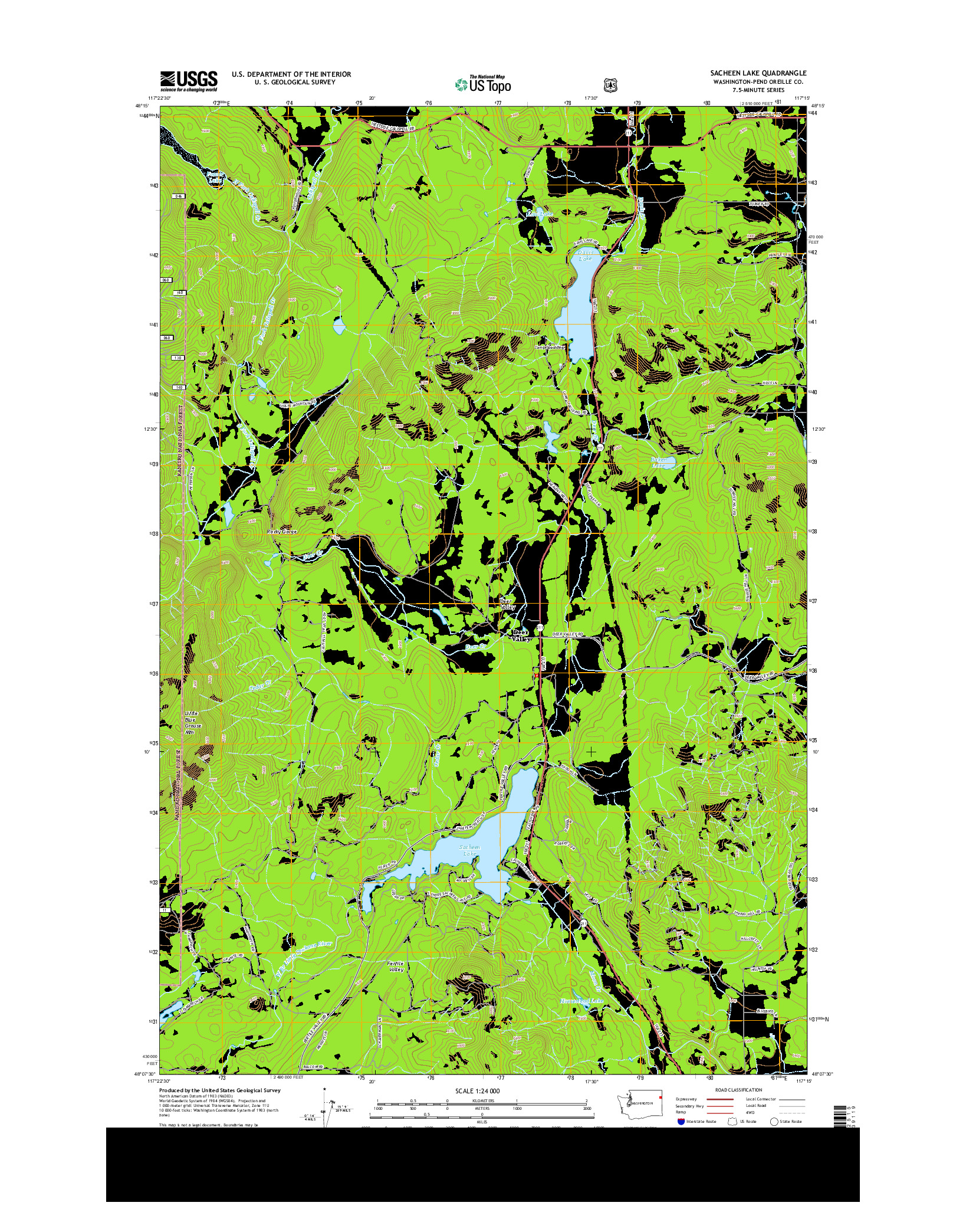 USGS US TOPO 7.5-MINUTE MAP FOR SACHEEN LAKE, WA 2014