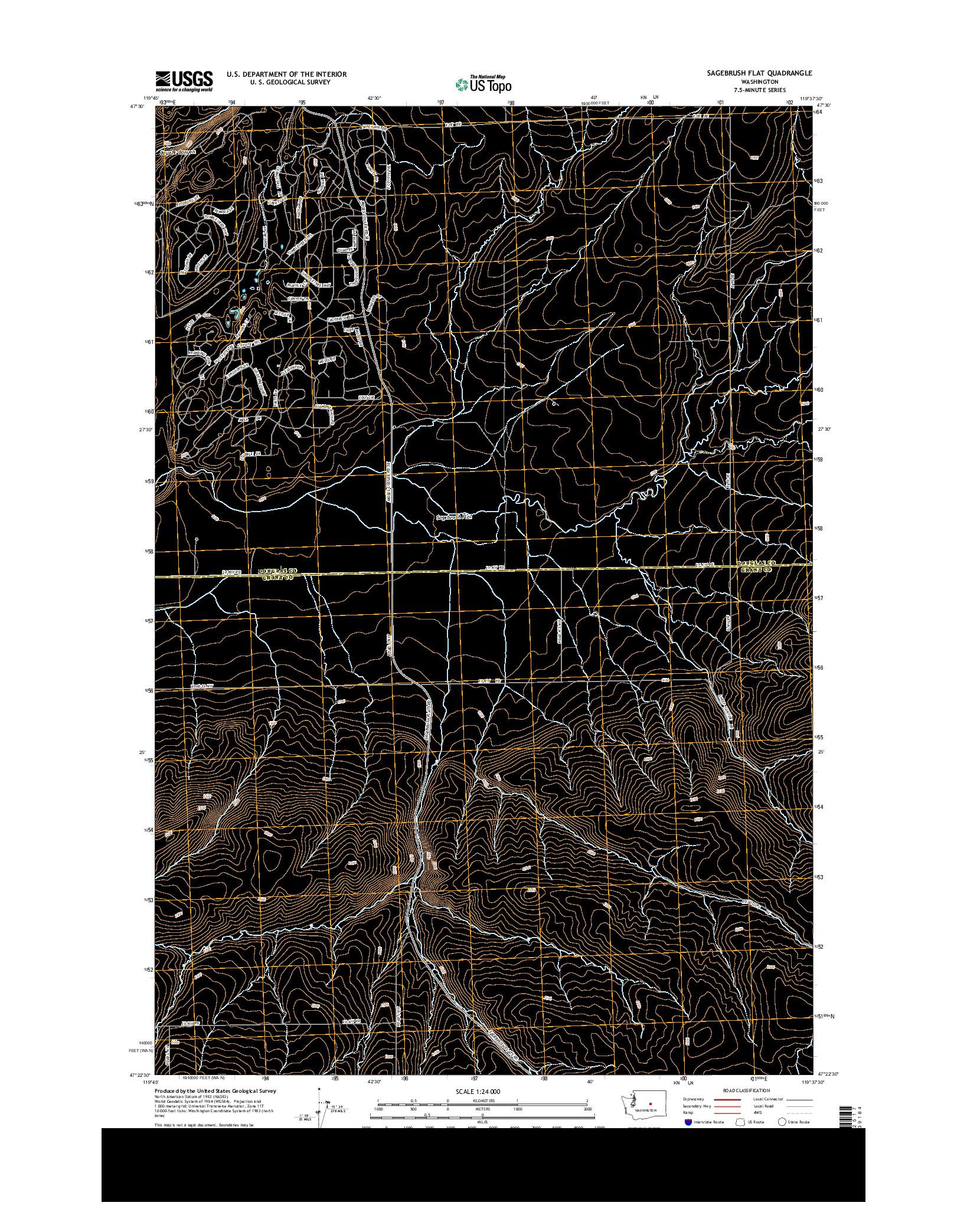 USGS US TOPO 7.5-MINUTE MAP FOR SAGEBRUSH FLAT, WA 2014