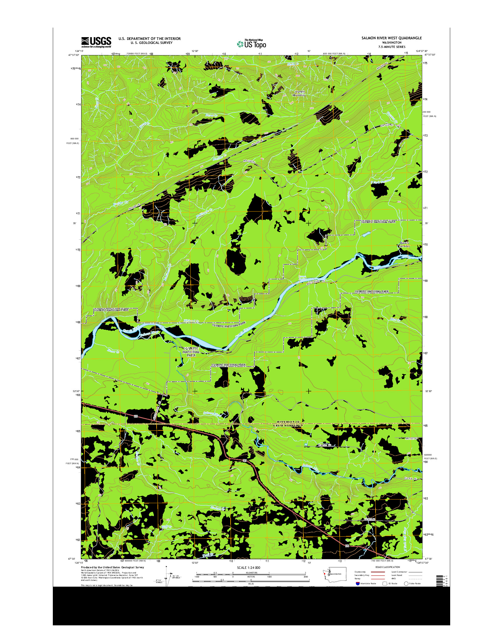 USGS US TOPO 7.5-MINUTE MAP FOR SALMON RIVER WEST, WA 2014
