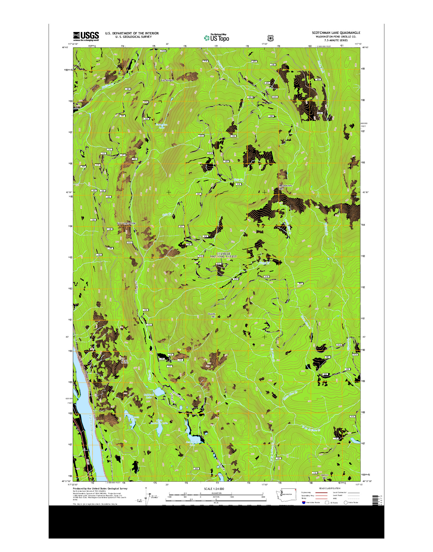 USGS US TOPO 7.5-MINUTE MAP FOR SCOTCHMAN LAKE, WA 2014