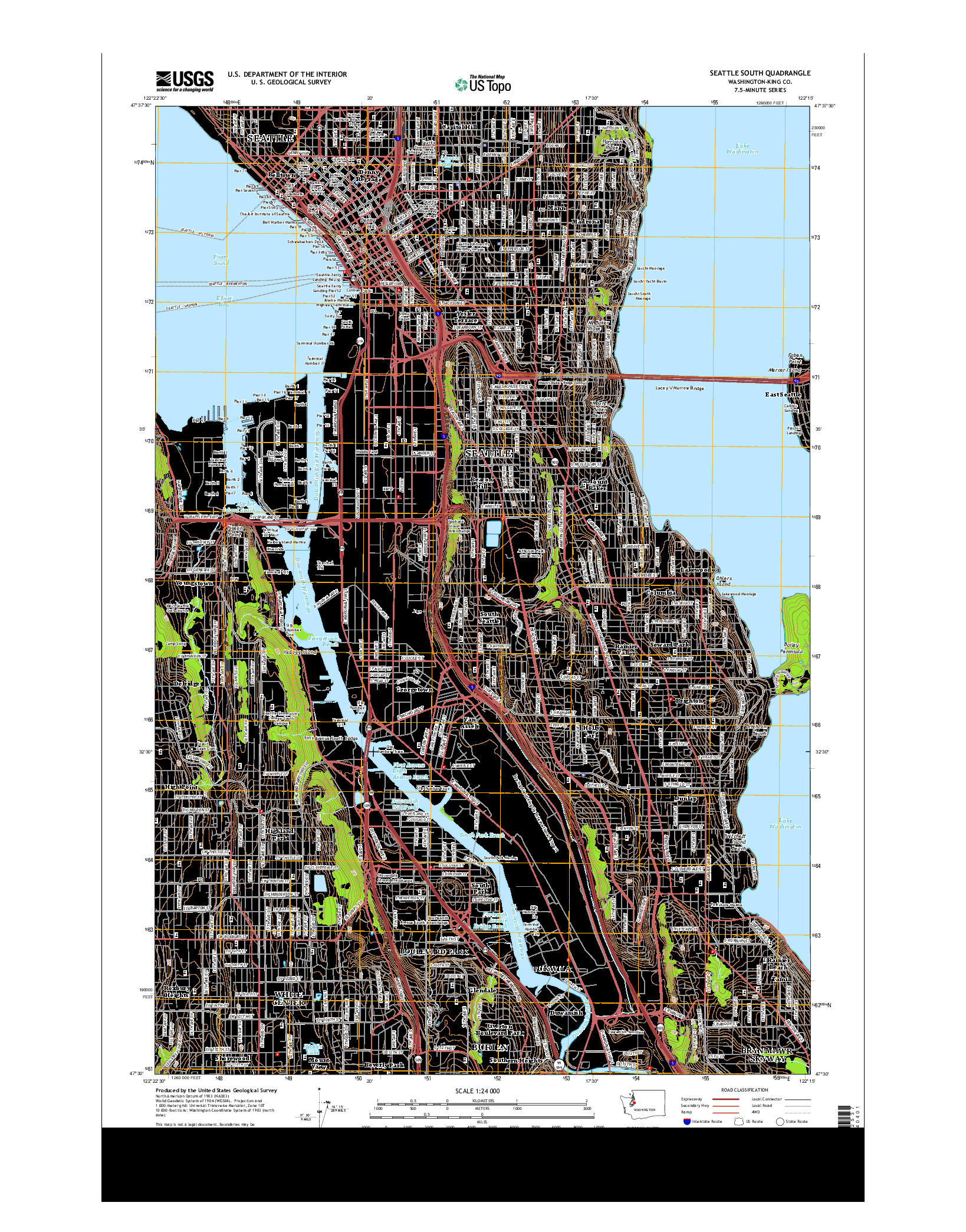 USGS US TOPO 7.5-MINUTE MAP FOR SEATTLE SOUTH, WA 2014