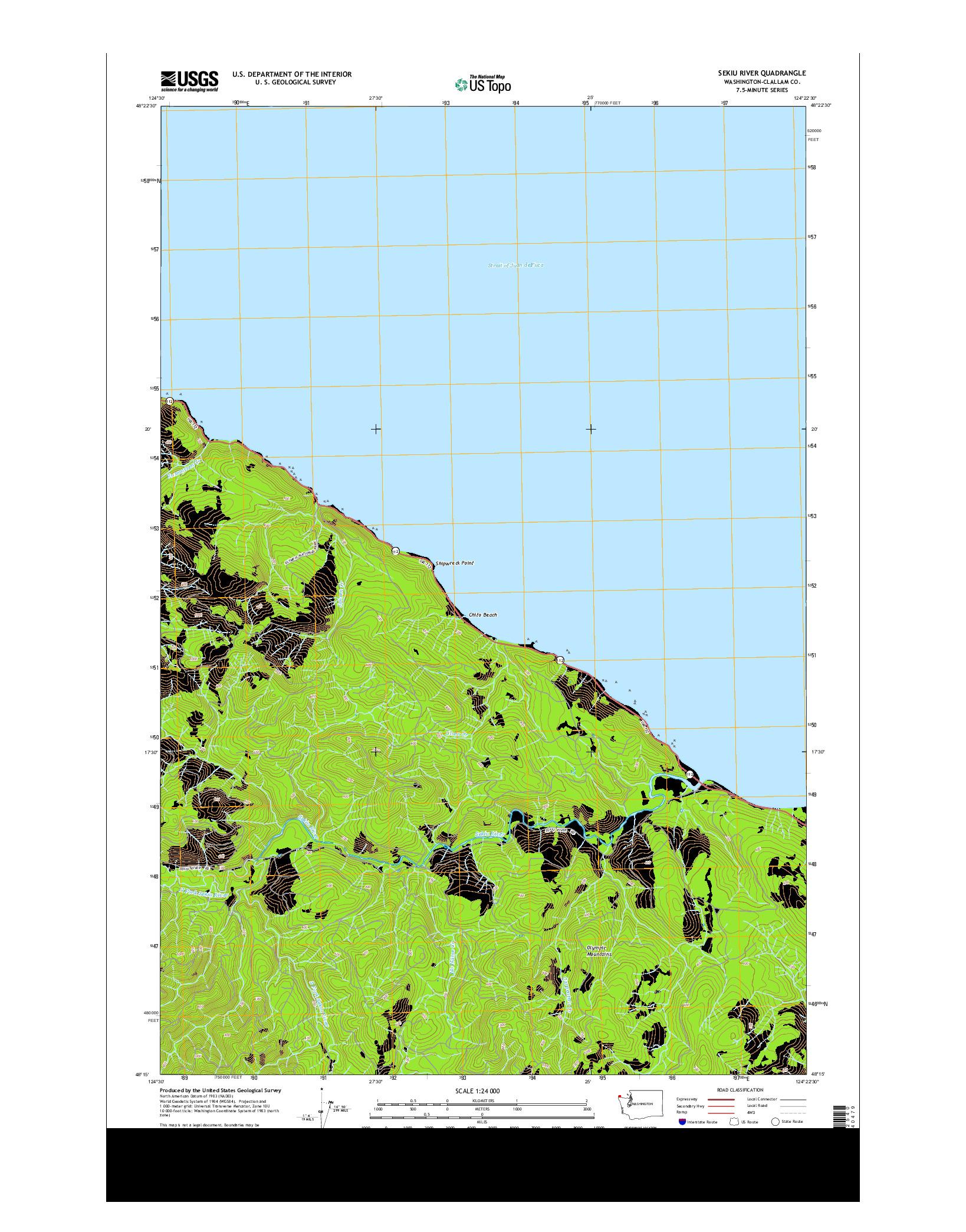 USGS US TOPO 7.5-MINUTE MAP FOR SEKIU RIVER, WA 2014