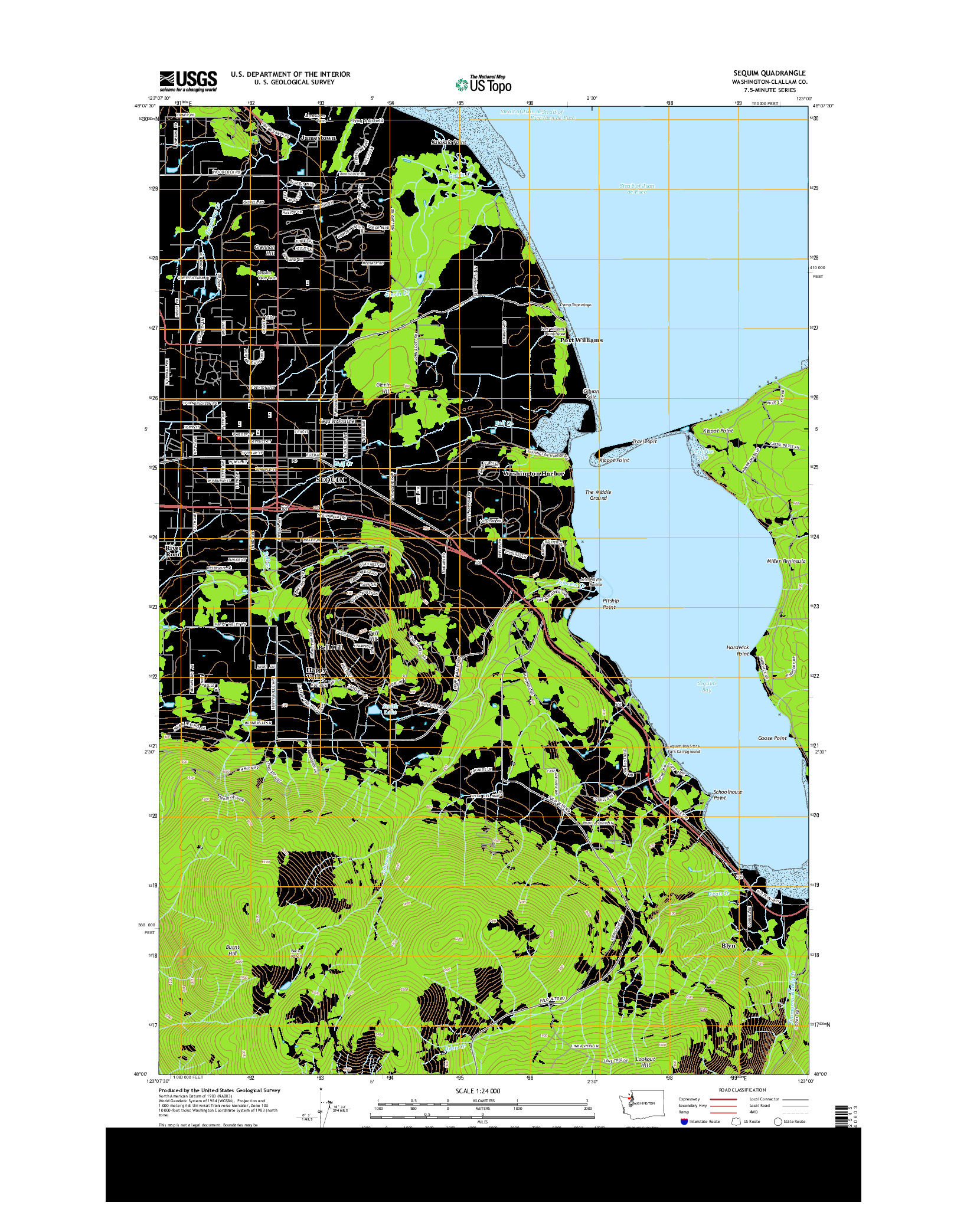USGS US TOPO 7.5-MINUTE MAP FOR SEQUIM, WA 2014