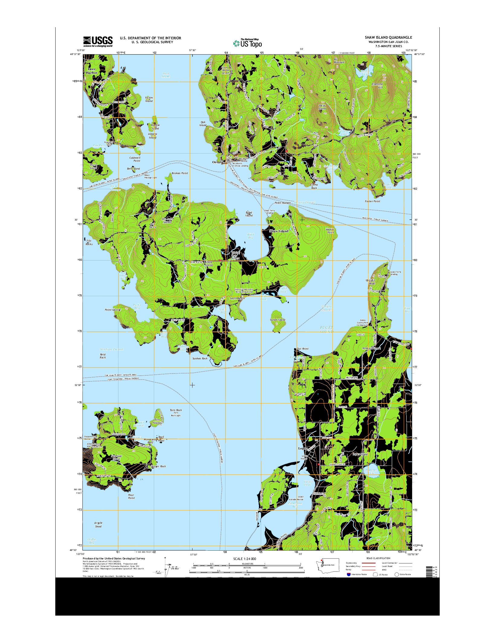 USGS US TOPO 7.5-MINUTE MAP FOR SHAW ISLAND, WA 2014