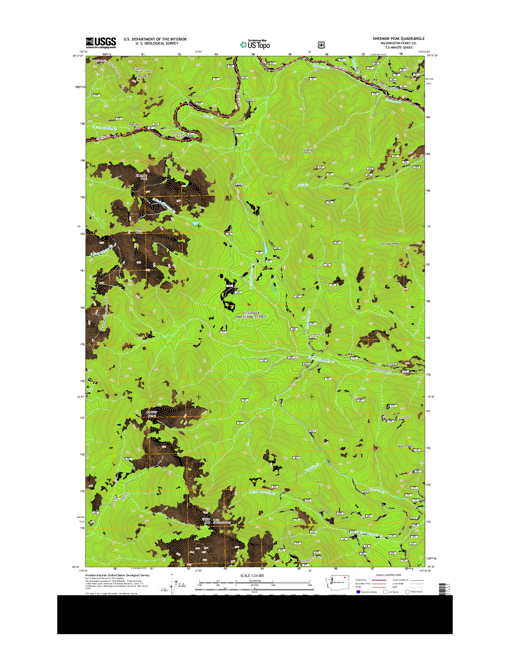 USGS US TOPO 7.5-MINUTE MAP FOR SHERMAN PEAK, WA 2014