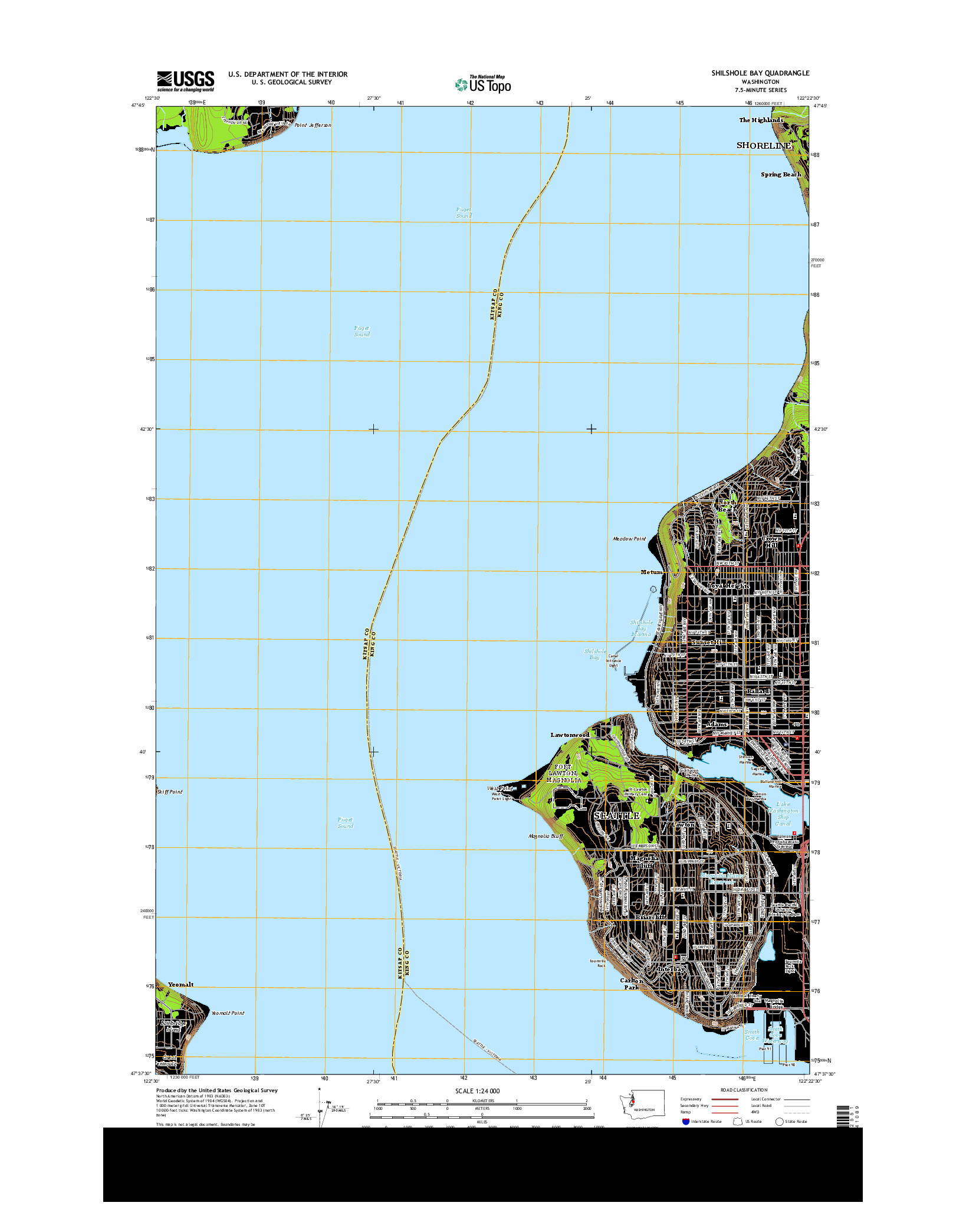 USGS US TOPO 7.5-MINUTE MAP FOR SHILSHOLE BAY, WA 2014