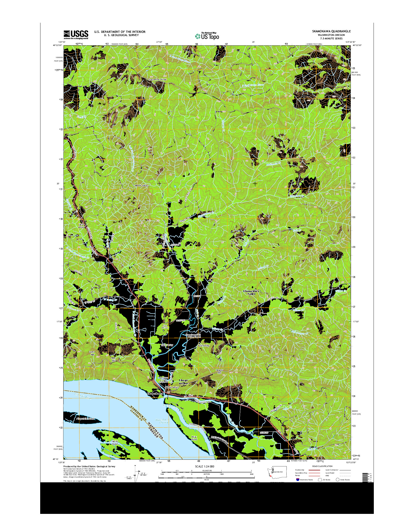 USGS US TOPO 7.5-MINUTE MAP FOR SKAMOKAWA, WA-OR 2014