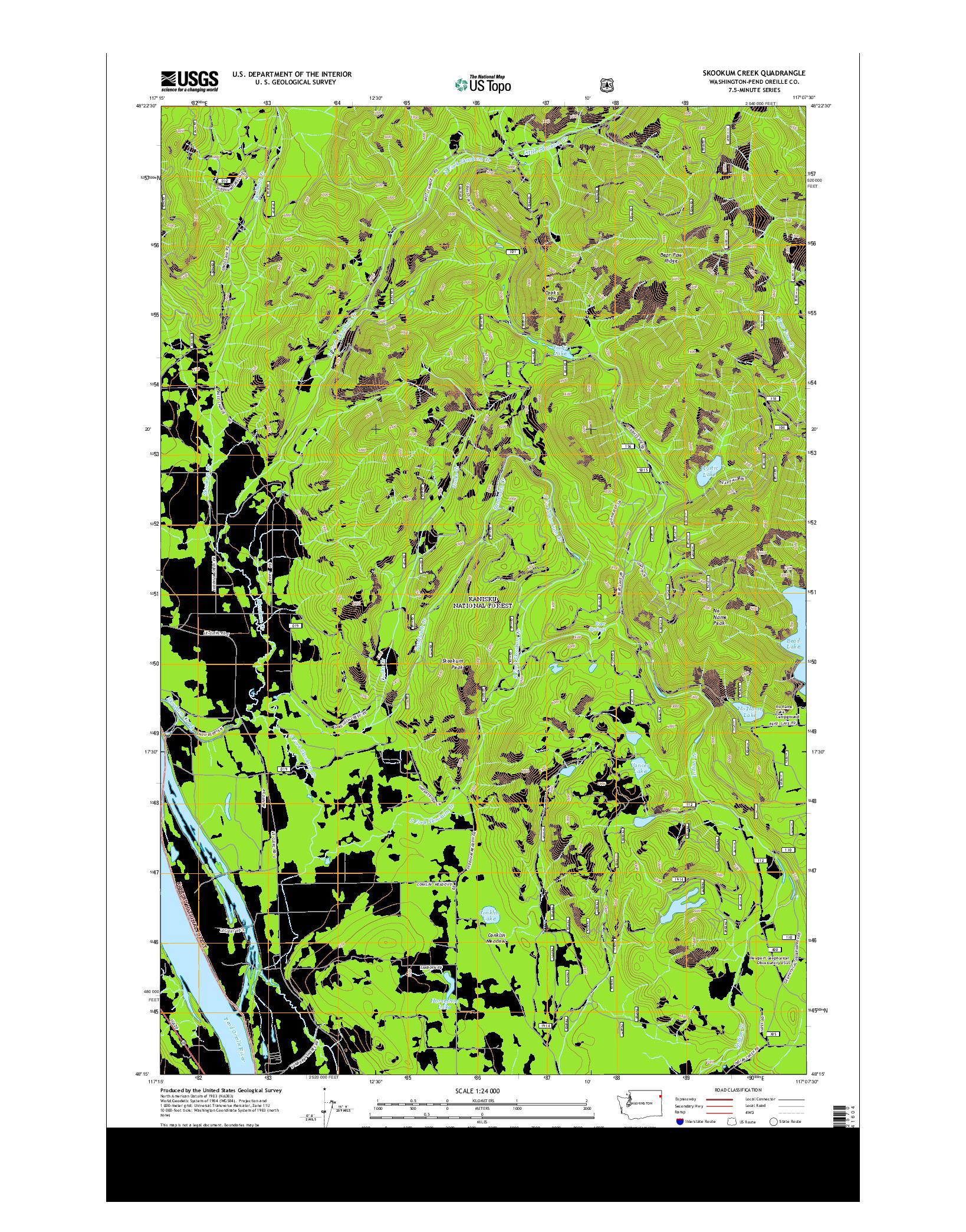 USGS US TOPO 7.5-MINUTE MAP FOR SKOOKUM CREEK, WA 2014