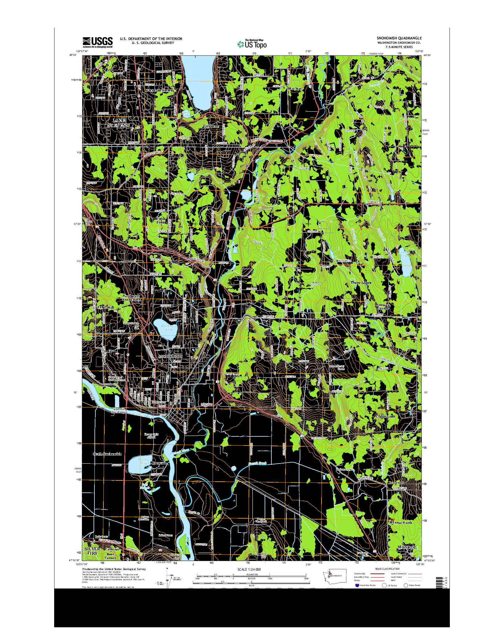 USGS US TOPO 7.5-MINUTE MAP FOR SNOHOMISH, WA 2014