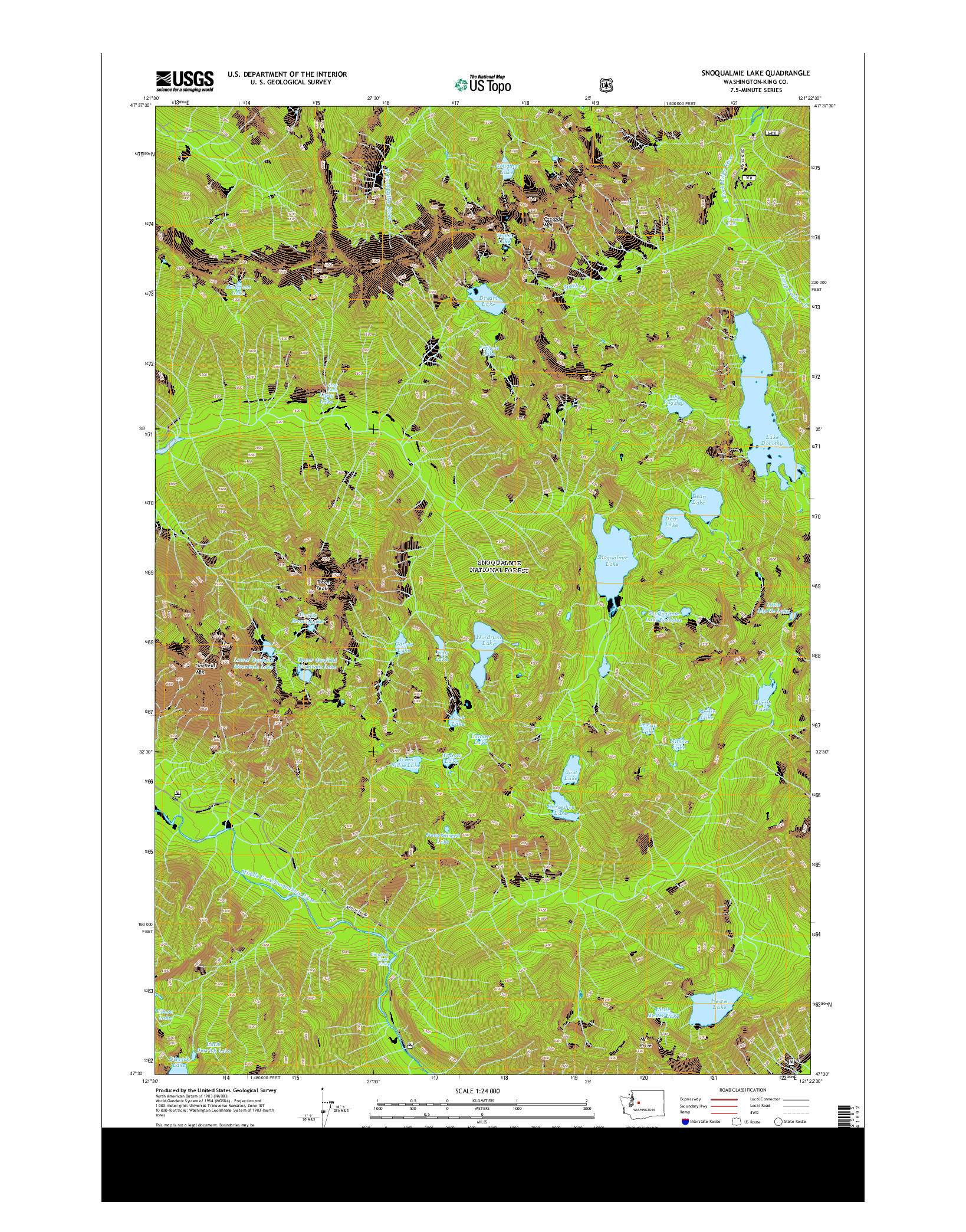 USGS US TOPO 7.5-MINUTE MAP FOR SNOQUALMIE LAKE, WA 2014