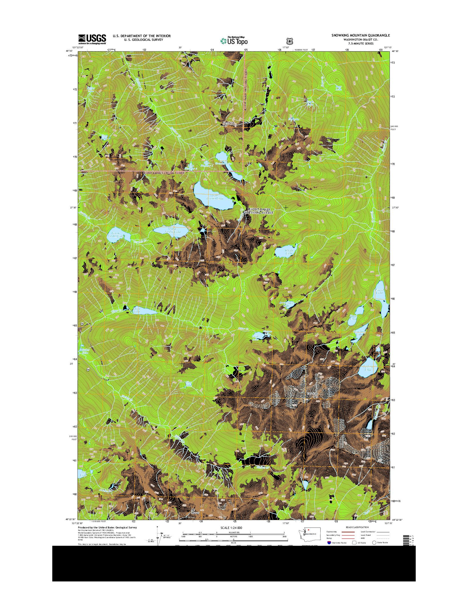 USGS US TOPO 7.5-MINUTE MAP FOR SNOWKING MOUNTAIN, WA 2014
