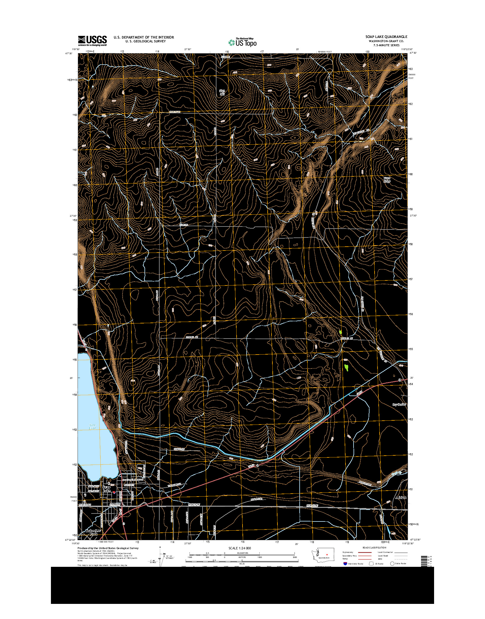 USGS US TOPO 7.5-MINUTE MAP FOR SOAP LAKE, WA 2014